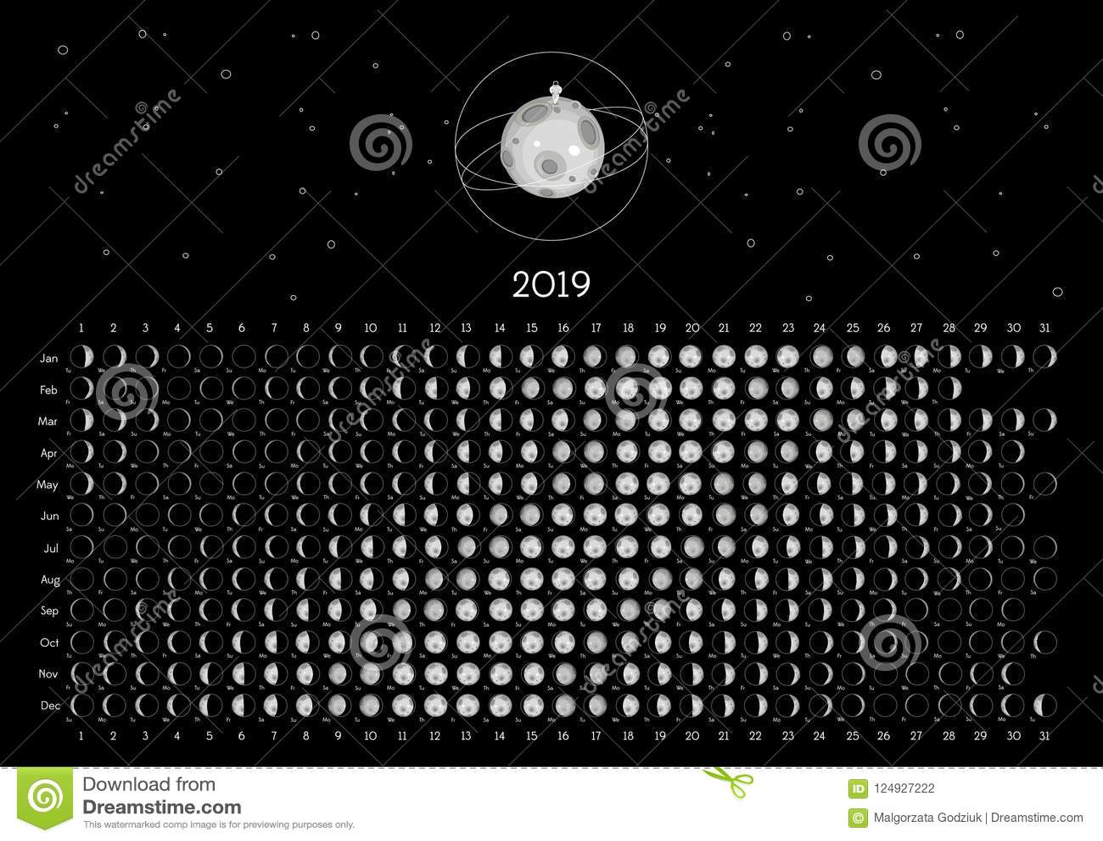 Emisfero Australe Del Calendario 2019 Della Luna ...