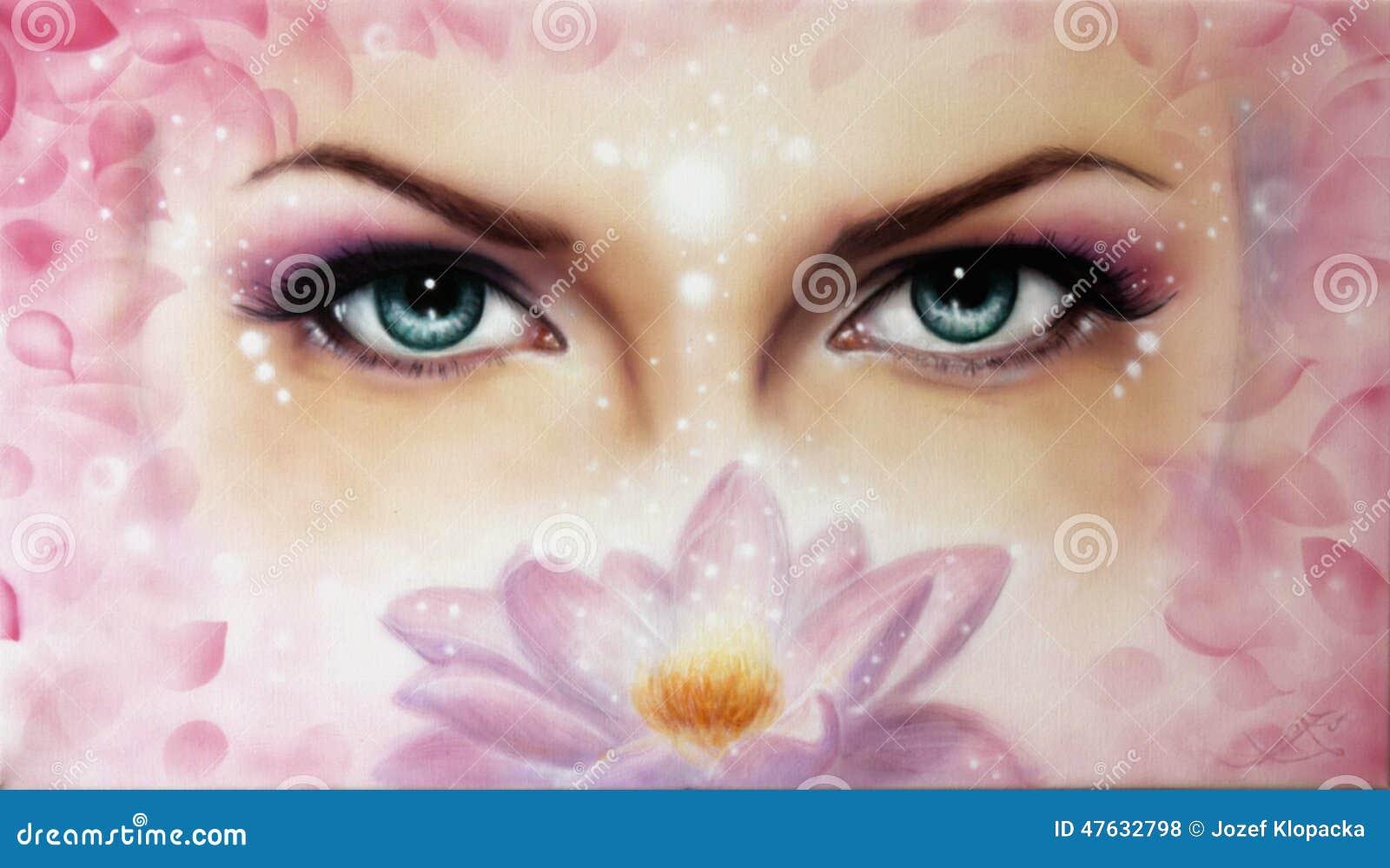 Emisión azul de los ojos de las mujeres