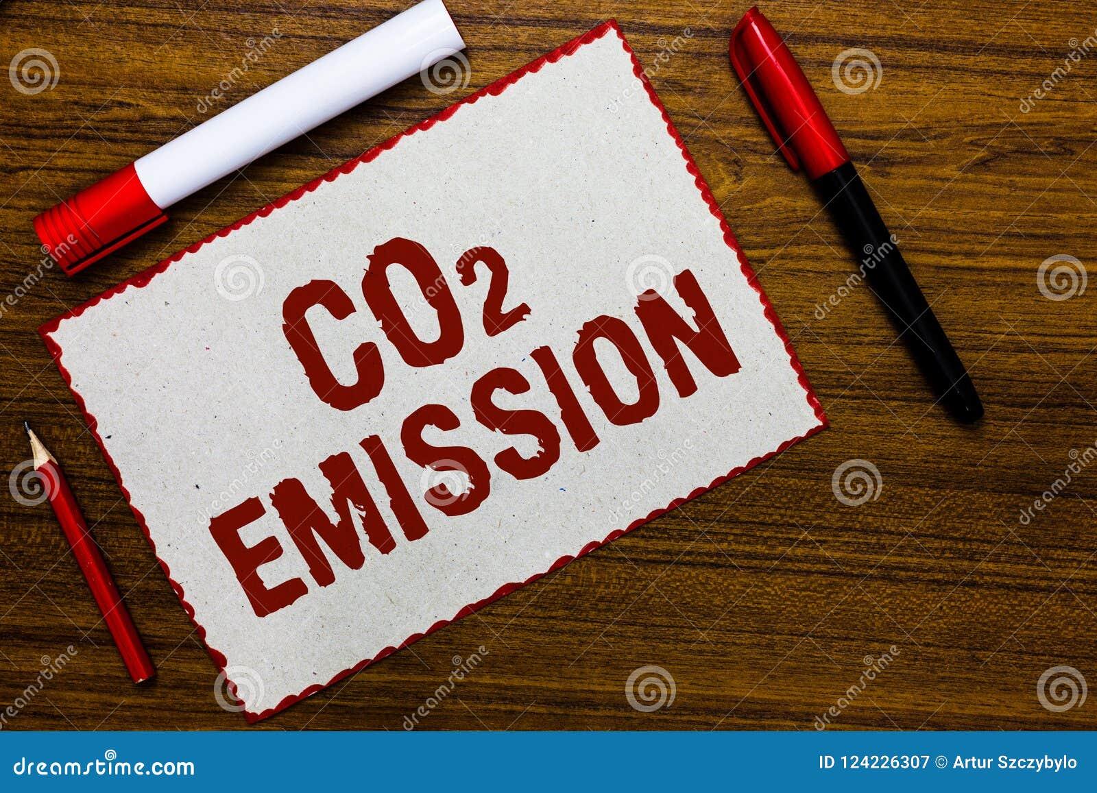 Emissione di CO2 di scrittura del testo della scrittura Scaricare di significato di concetto dei gas serra nel rosso del Libro Bi