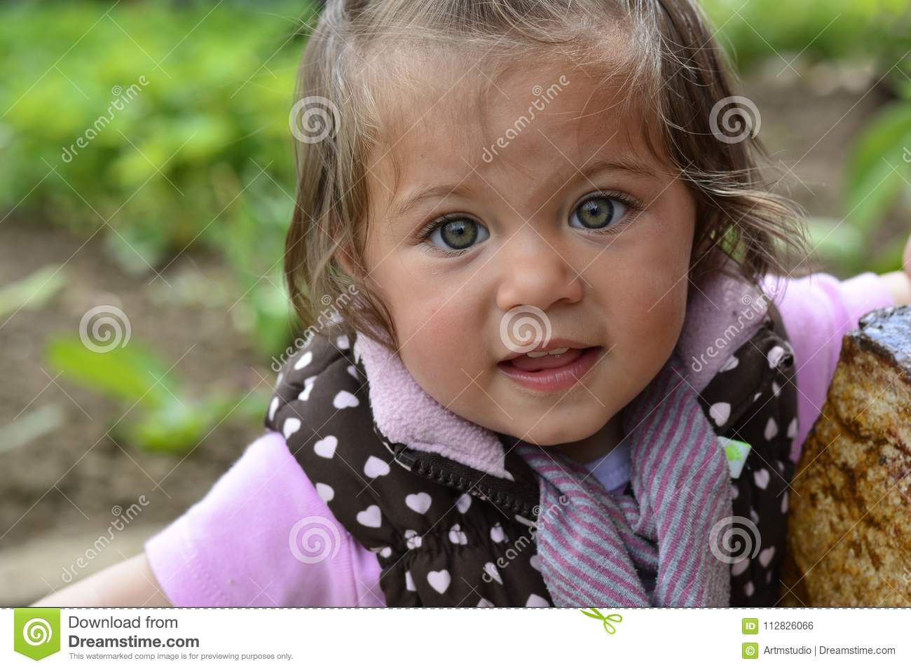 Emma Little Girl With Green Eyes Stock Photo Image Of Smile