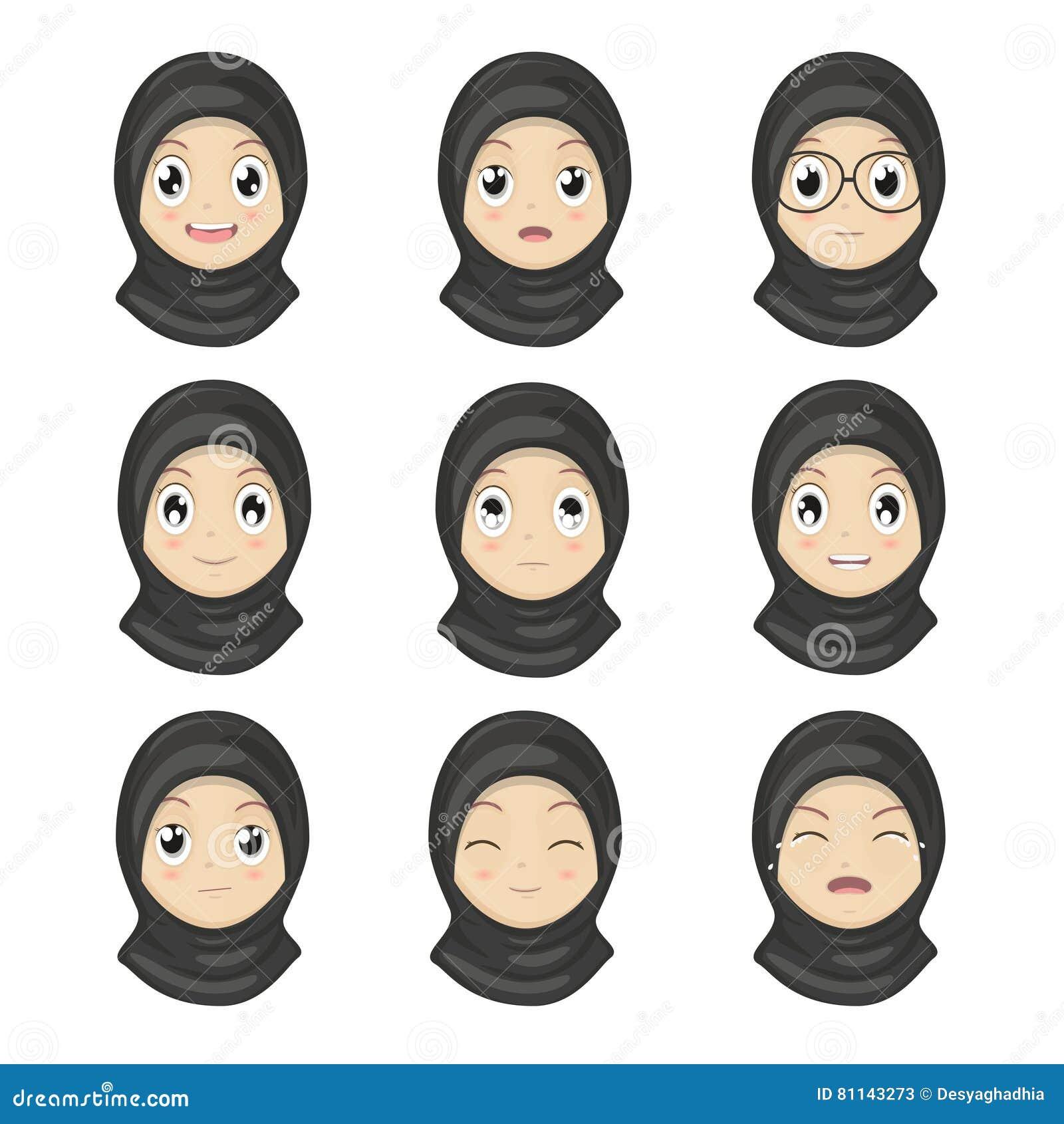 A emoção muçulmana da menina enfrenta desenhos animados Caras da expressão das mulheres