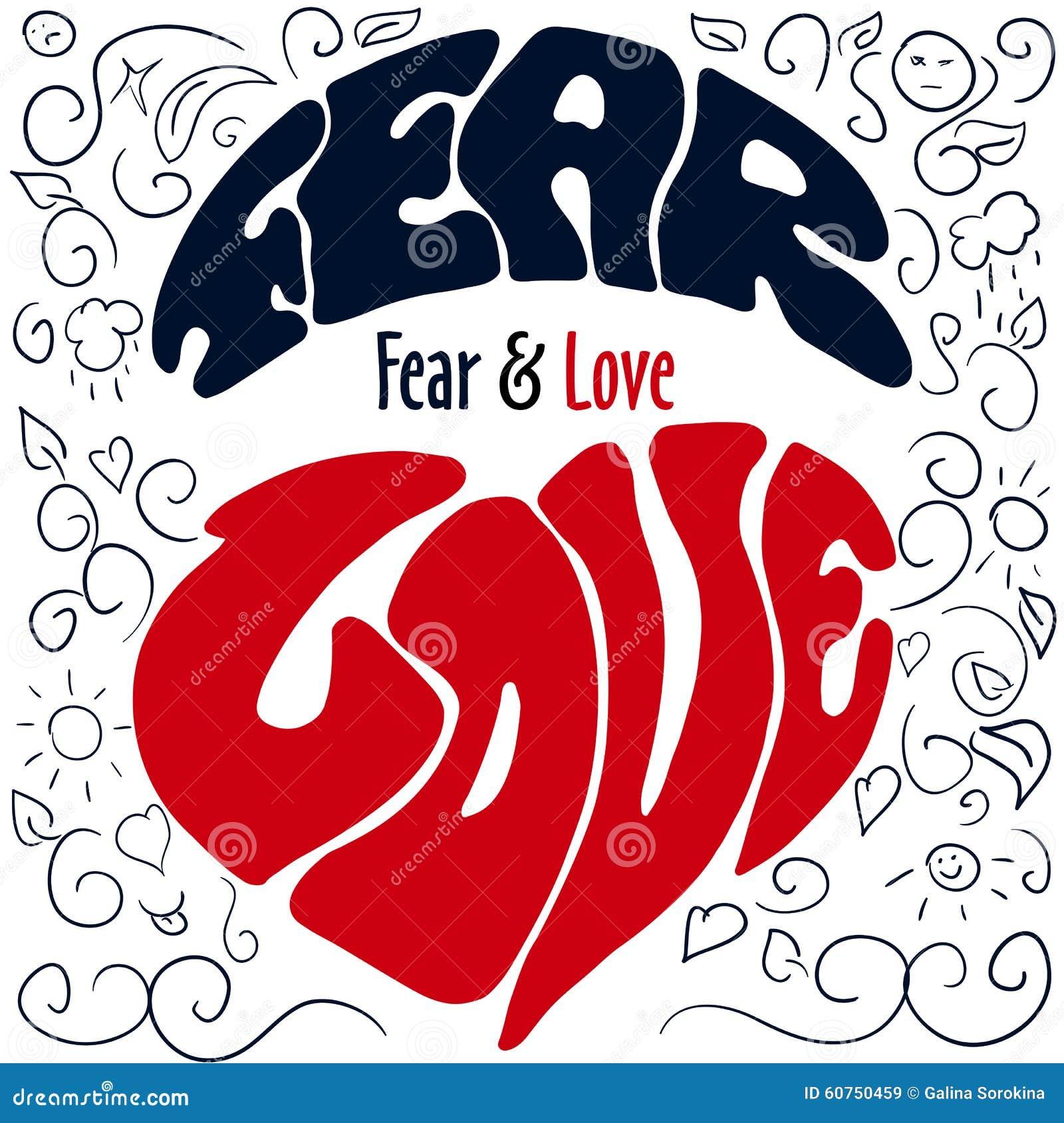 Emoções tiradas mão que rotulam o medo e o amor