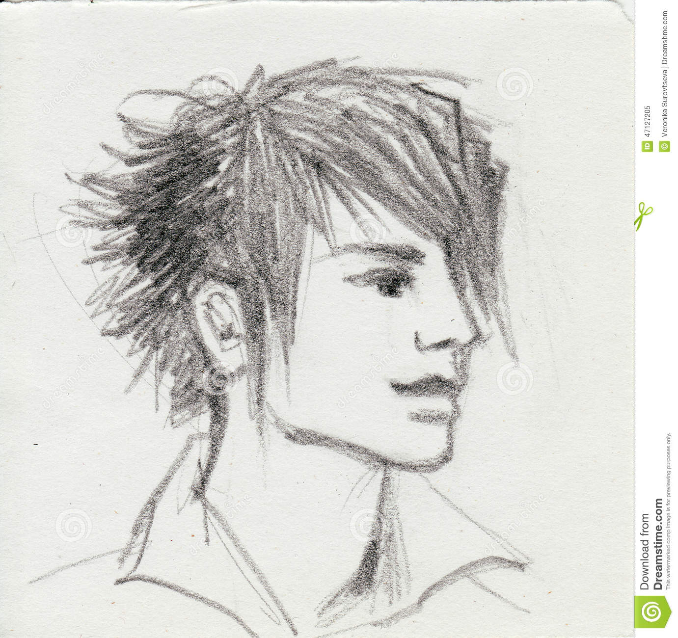 Three quarter view of an emo boy head original pencil sketch