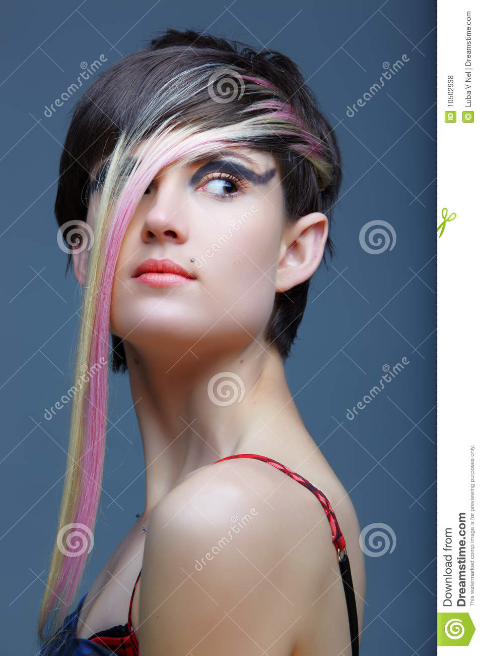 Emo Girl With Piercings And Fringe Stock Photo Image Of