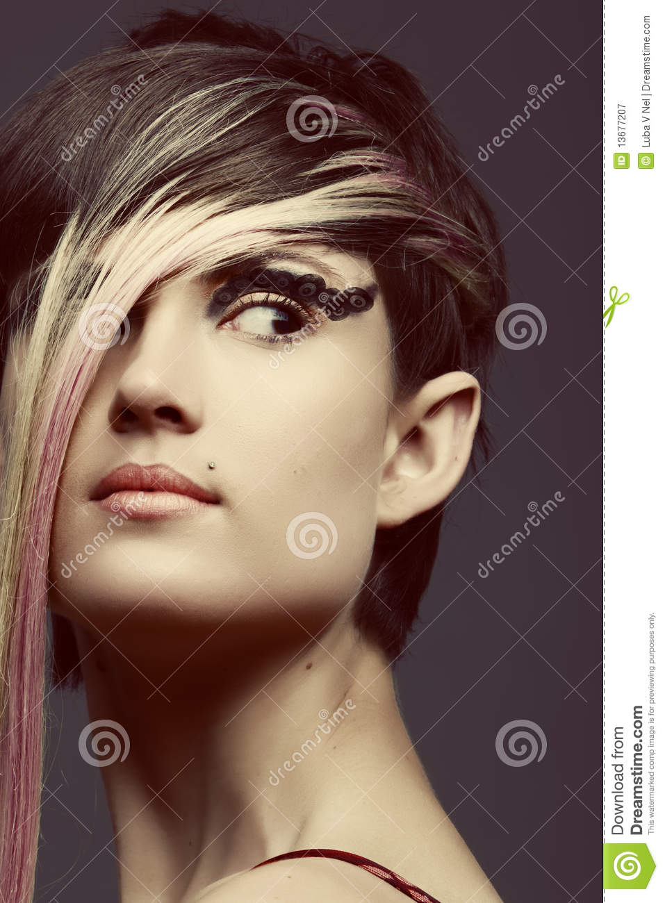 Emo Girl With Piercings And Fringe Royalty Free Stock
