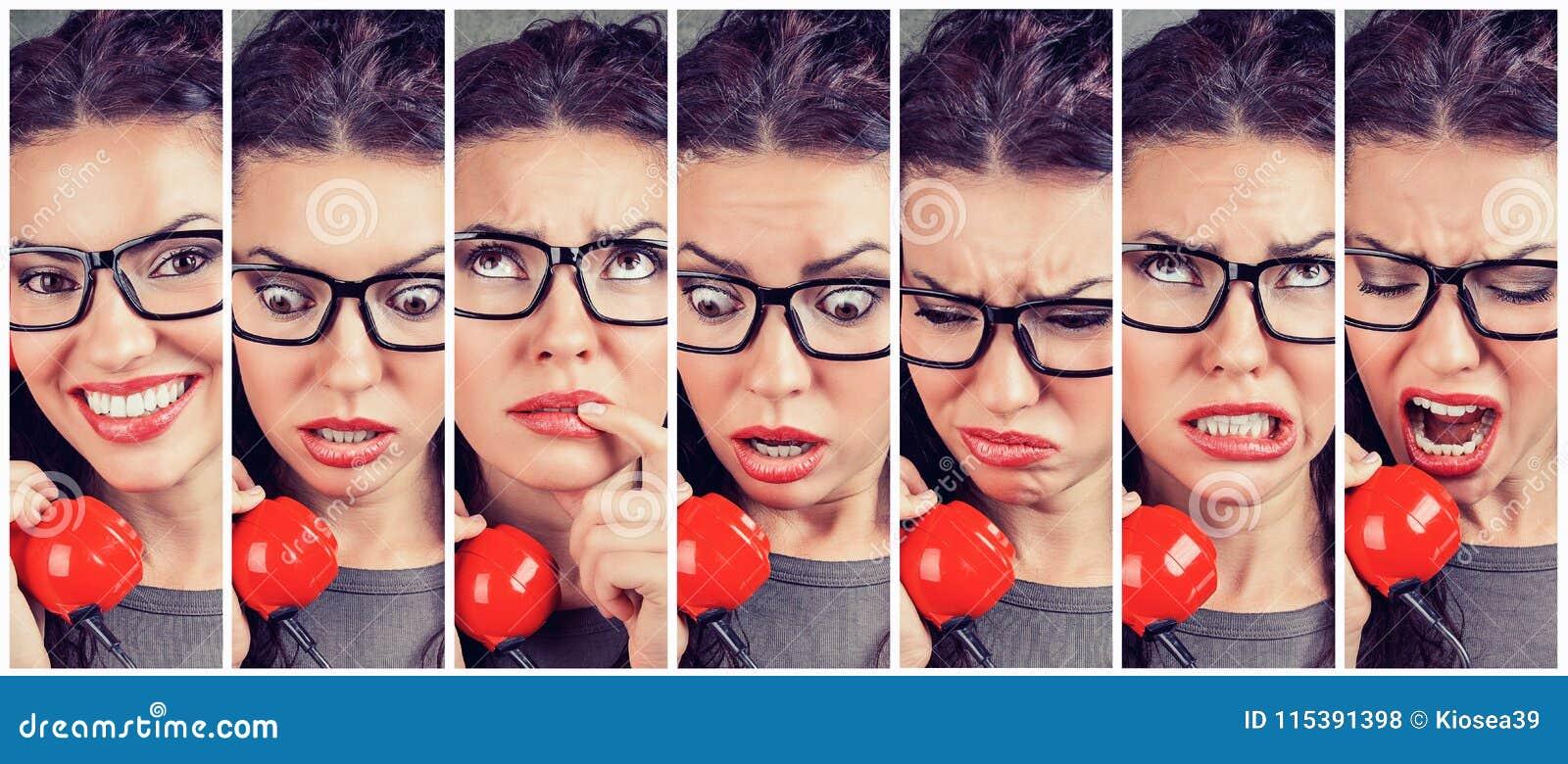 Emociones cambiantes de la mujer de feliz a enojado mientras que contesta al teléfono
