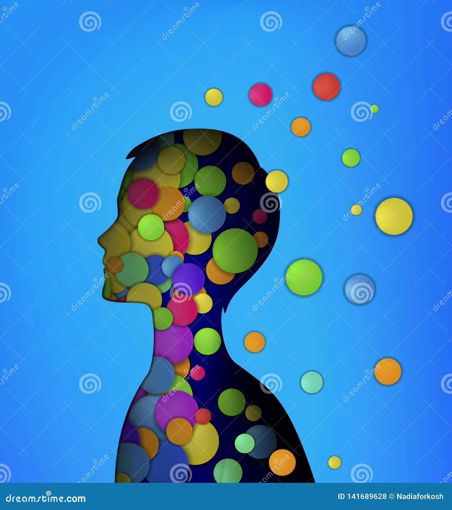 Emociones concepto, cabeza que llena de las rondas coloreadas, concepto de la niñez, felicidad interna del muchacho,