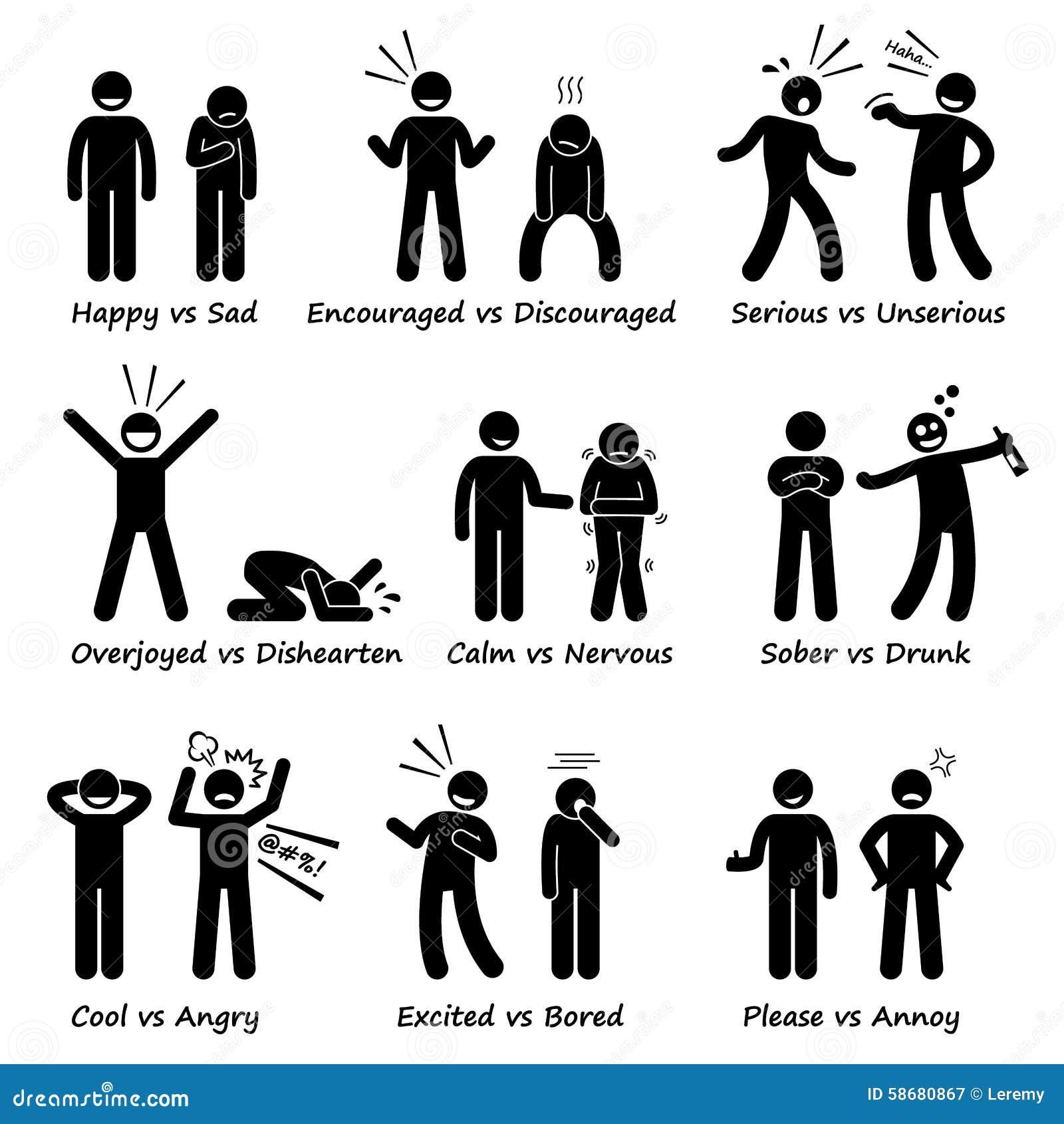 Emociones opuestas de la sensación positivas contra la figura negativa iconos del palillo de las acciones del pictograma