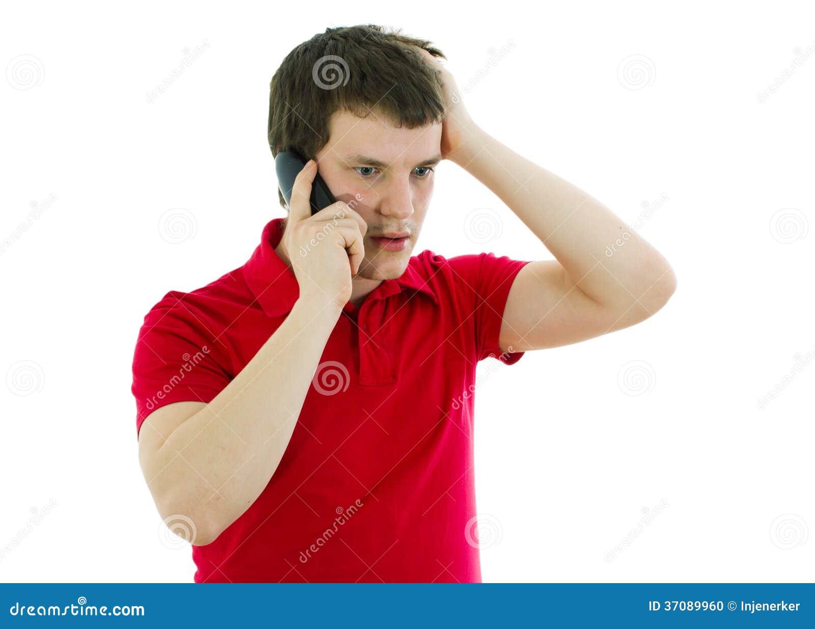 Download Emocjonalny Mężczyzna Opowiada Na Telefonie Zdjęcie Stock - Obraz złożonej z biznes, human: 37089960