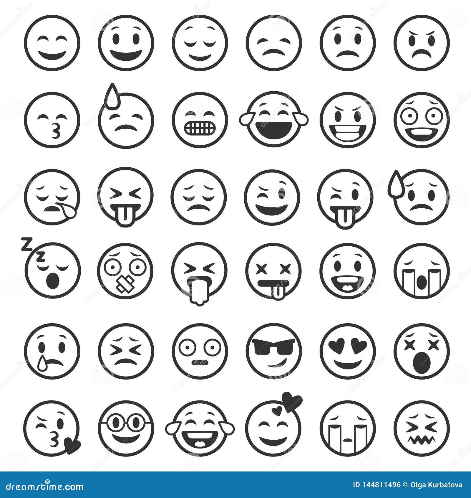 План смайликов Emoji смотрит на линию настроение улыбки смайлика смешную юмора людей выражения значков черноты smiley лицевое, пл