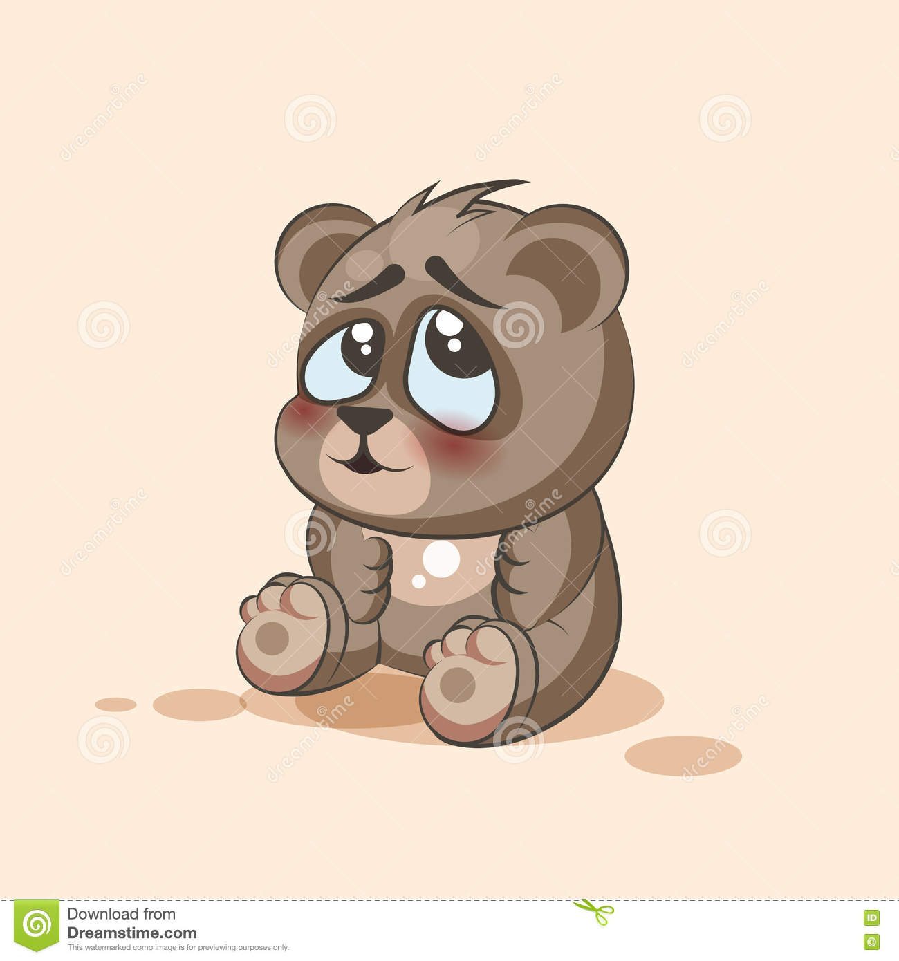 Vector Stock Illustration Emoji character cartoon Bear embarrassed ...