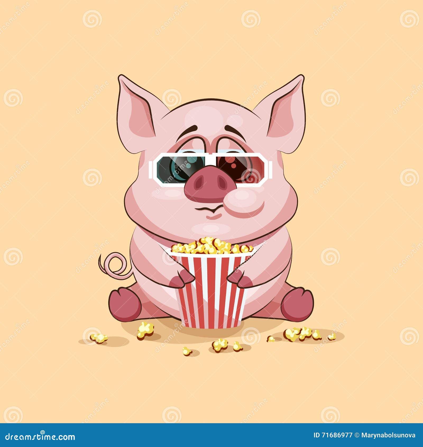 emoji character cartoon pig chewing popcorn watching