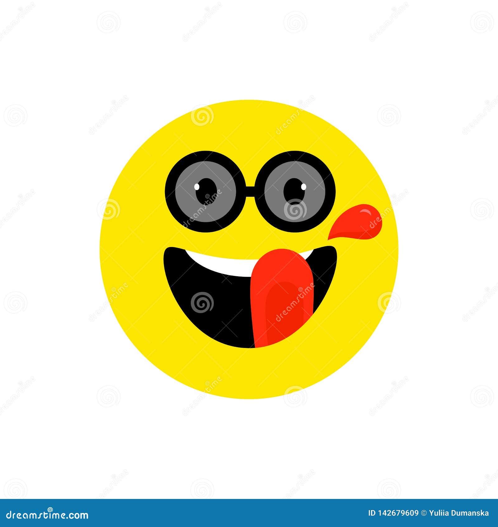 Emoji de sourire de visage heureux avec la bouche et les lunettes de soleil ouvertes Tyle plat de sourire dr?le Symbole mignon d