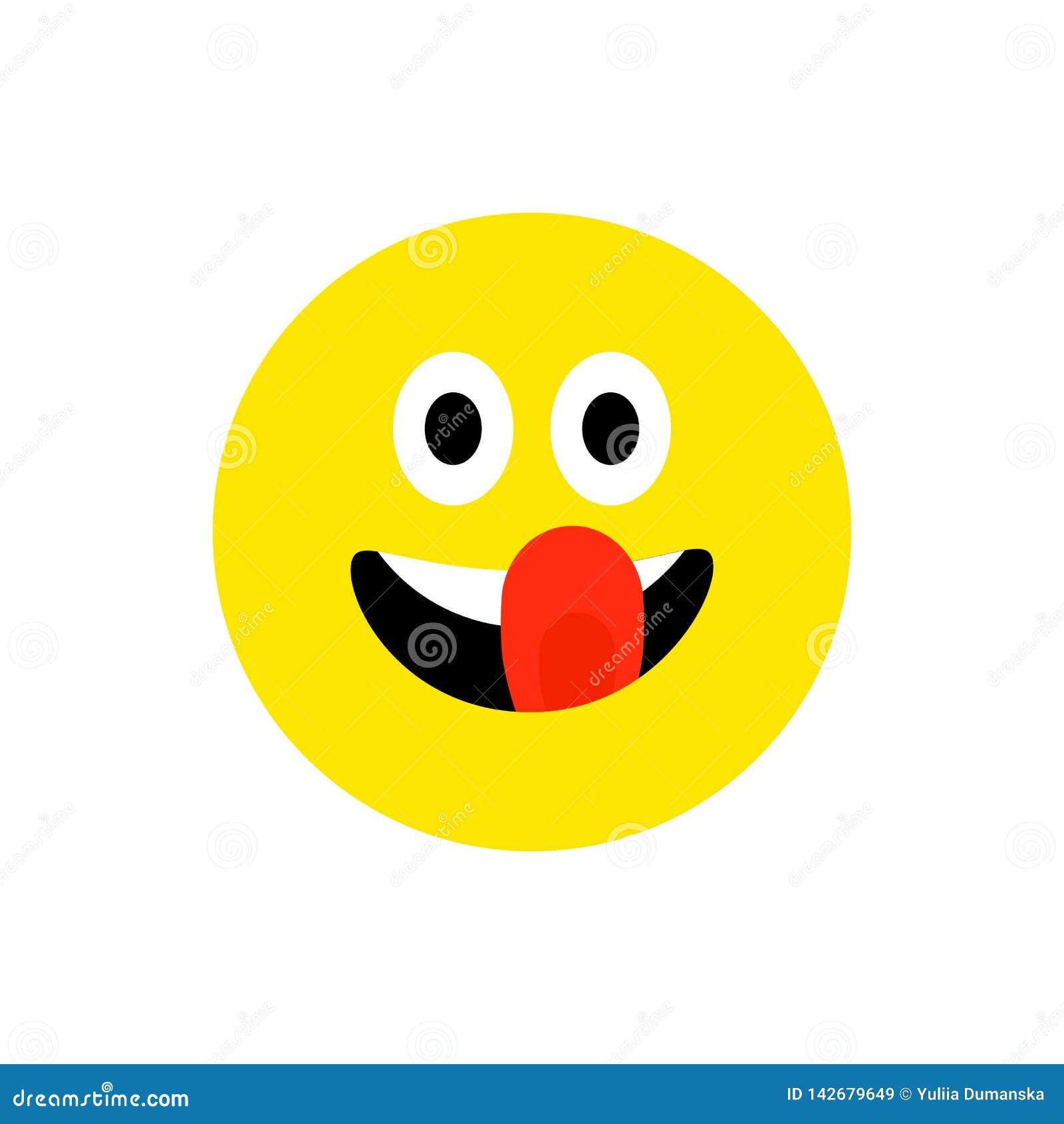 Emoji de sourire de visage heureux avec la bouche ouverte Style plat de sourire dr?le Symbole mignon d ?motic?ne Smiley, ic?ne de