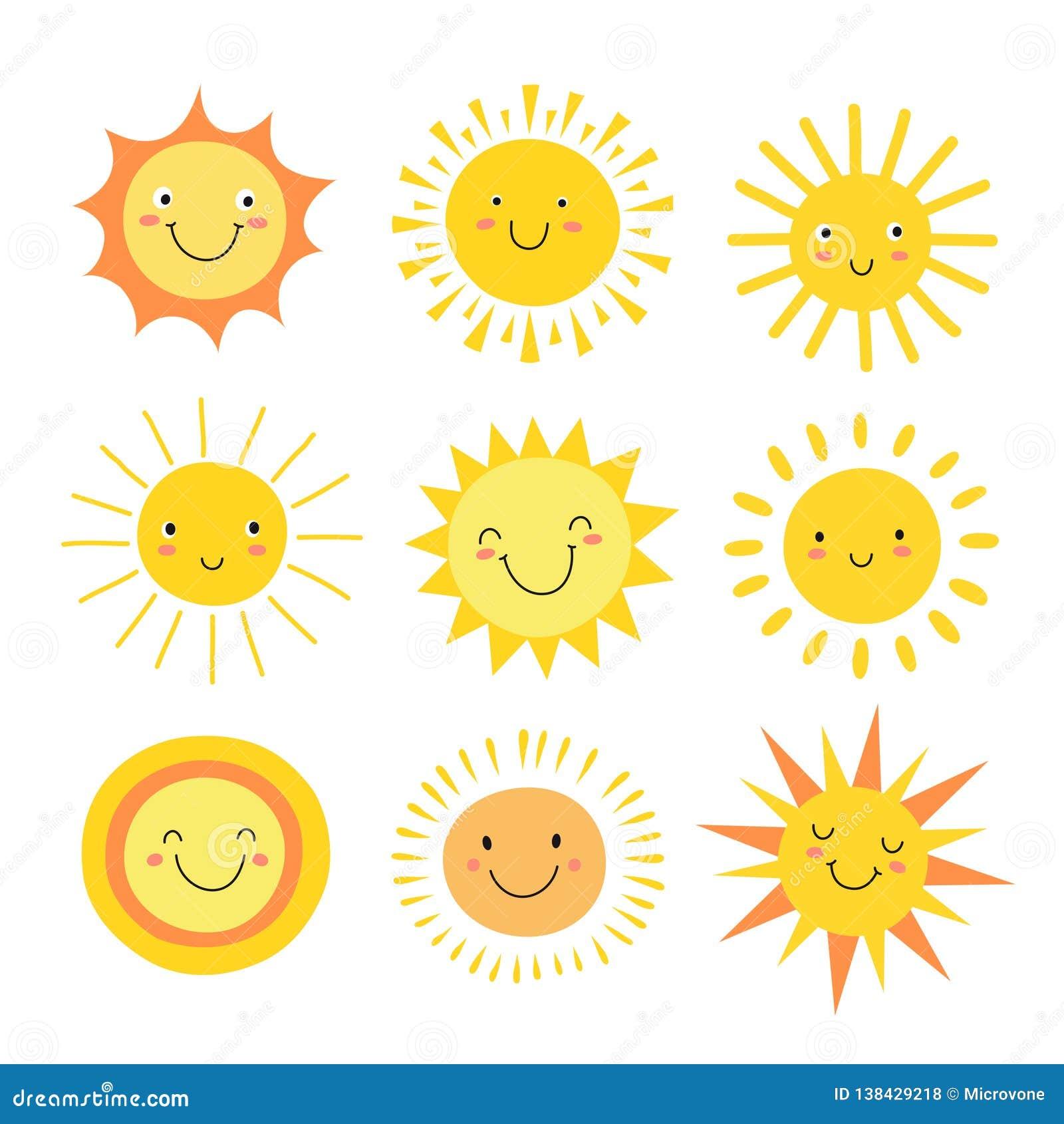 Emoji di Sun Sole divertente di estate, emoticon felici di mattina del bambino del sole Sorridere soleggiato del fumetto affronta