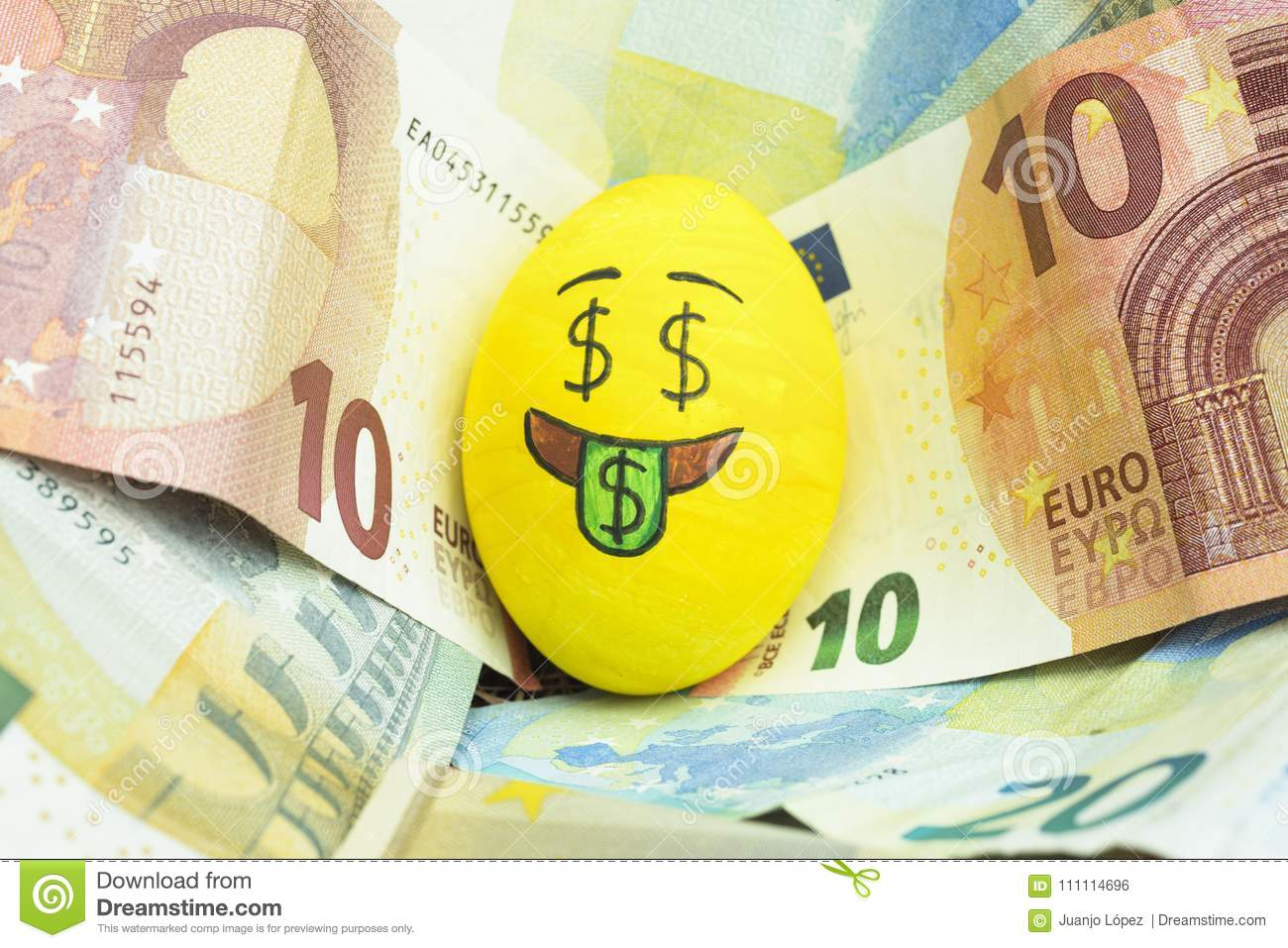 Emoji Easter egg with facial expression `I love money` placed on euro paper money