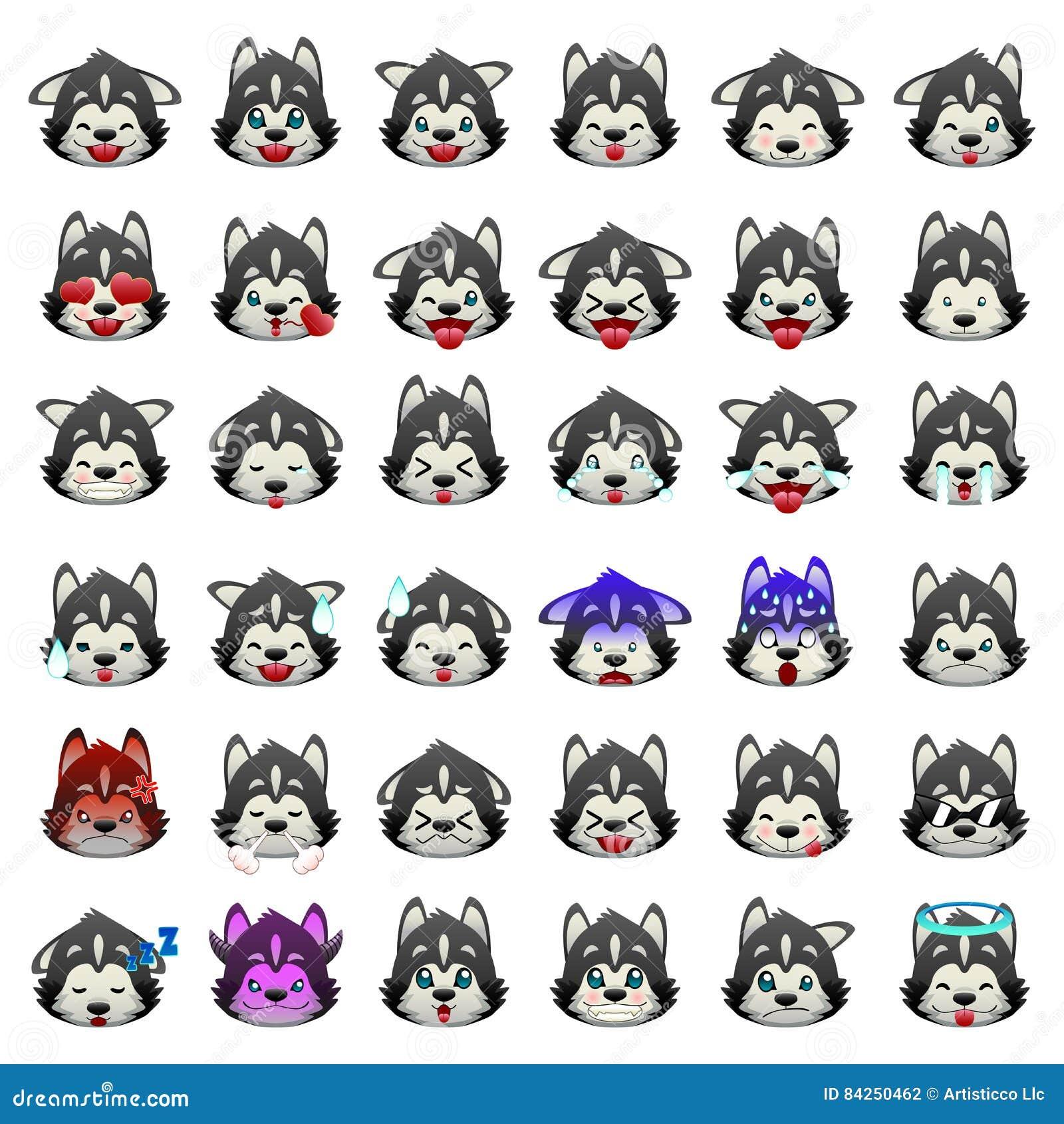 Emoji-Emoticon-Ausdruck Hund Der Sibirischen Huskys Vektor ...
