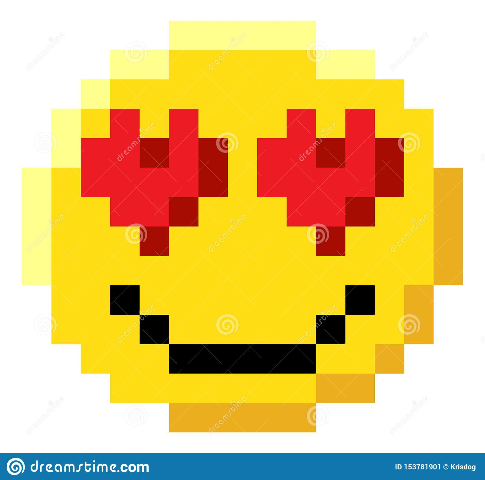 Emoticon Face Pixel Art 8 Bit Video Game Icon Stock Vector