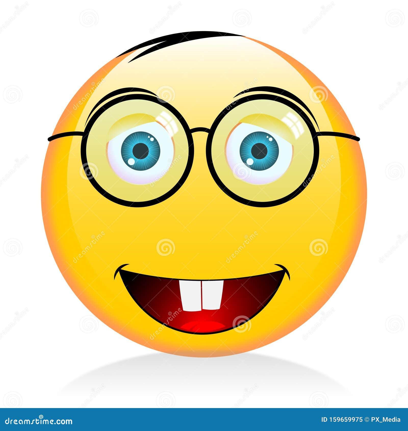 Emoji, Emoticon With Glasses - Nerd Stock Illustration ...
