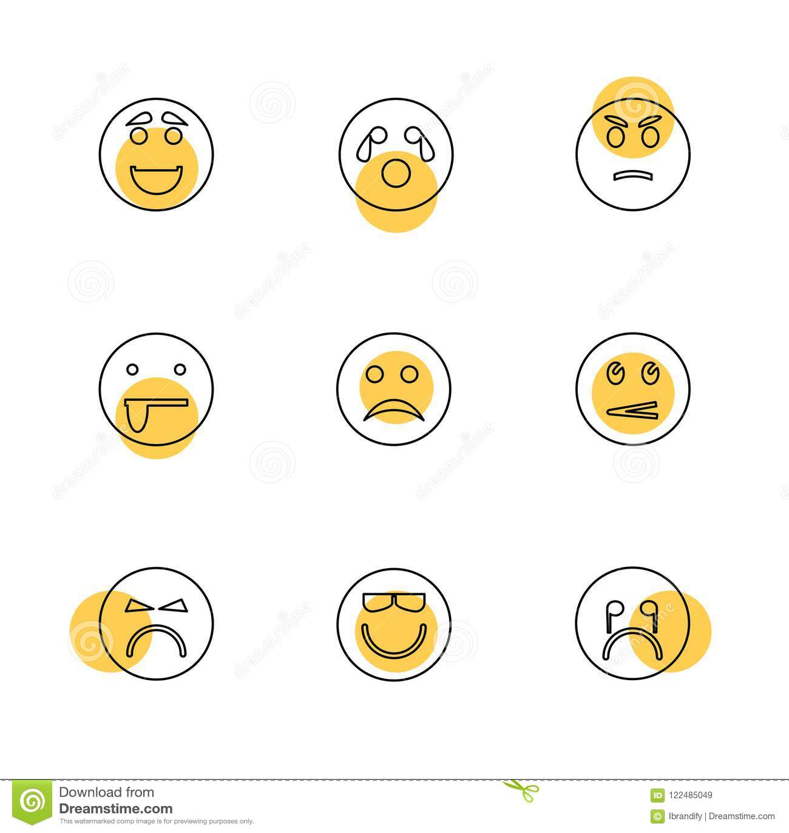 Emoji , Emoticons , Eomtions , Smileys , Eps Icons Set Vector Stock