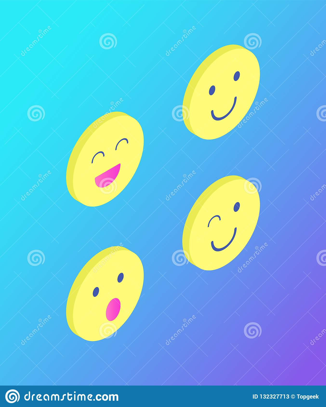 Emoji-Emoticons stellen Ausdruck-Satz-Ikonen-Vektor gegenüber