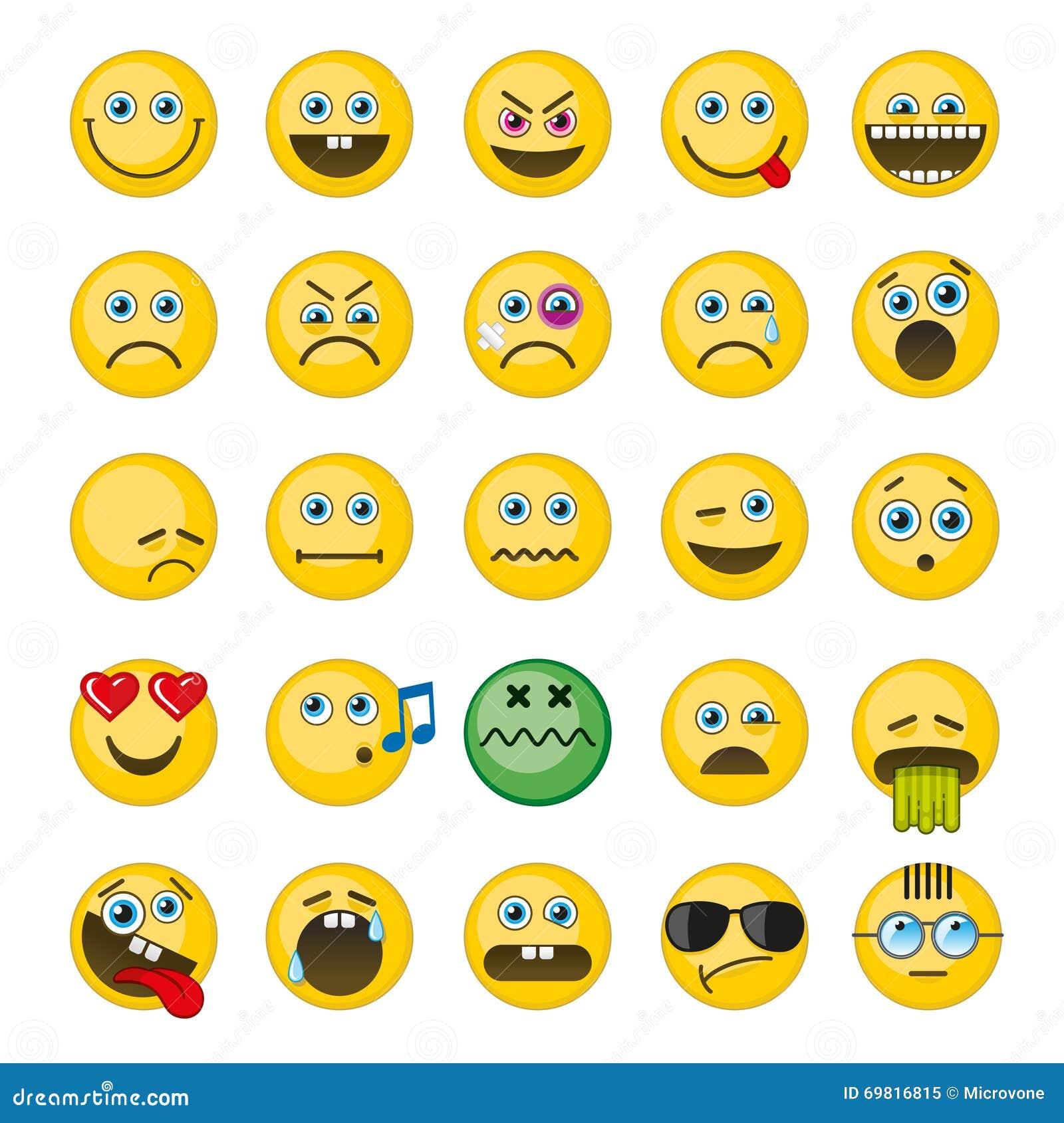 Emoji Emoticons Vector Icons Set Stock Vector Illustration Of