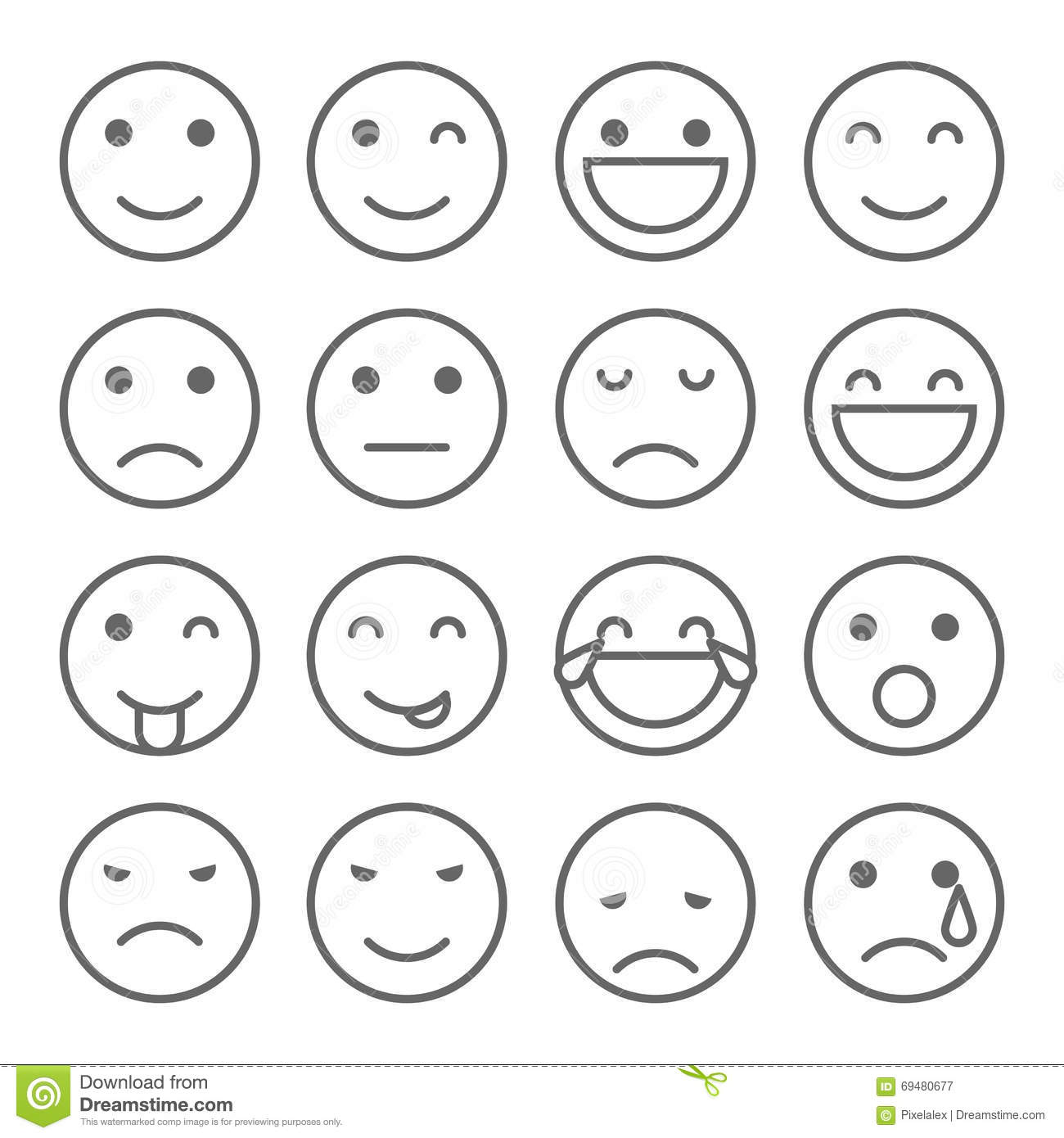 Emoji Faces Simple Icons Stock Vector Image 69480677