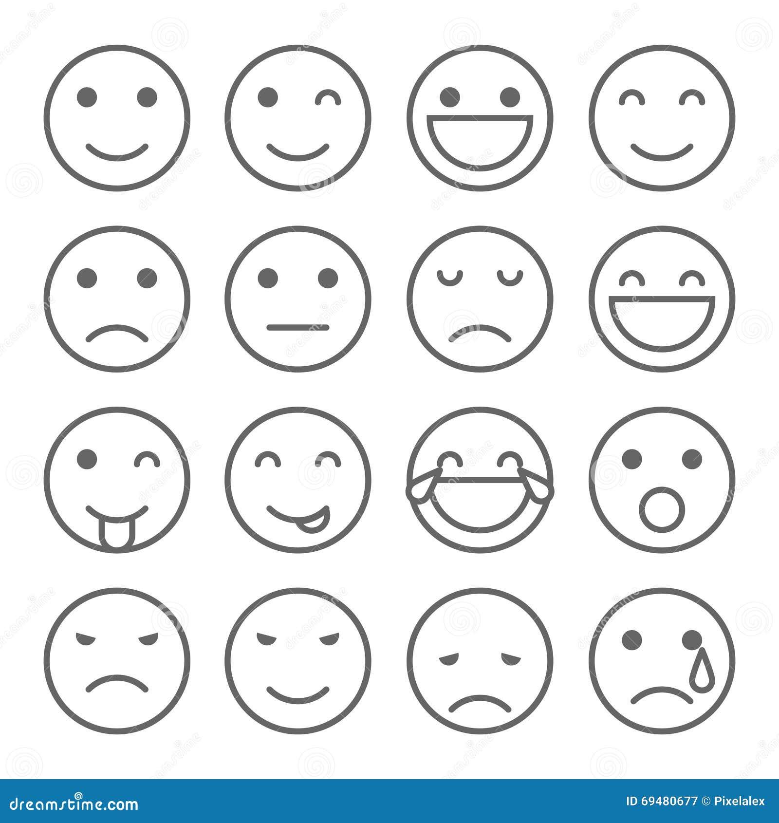 Emoji Faces Simple Icons Stock Illustration Image 69480677
