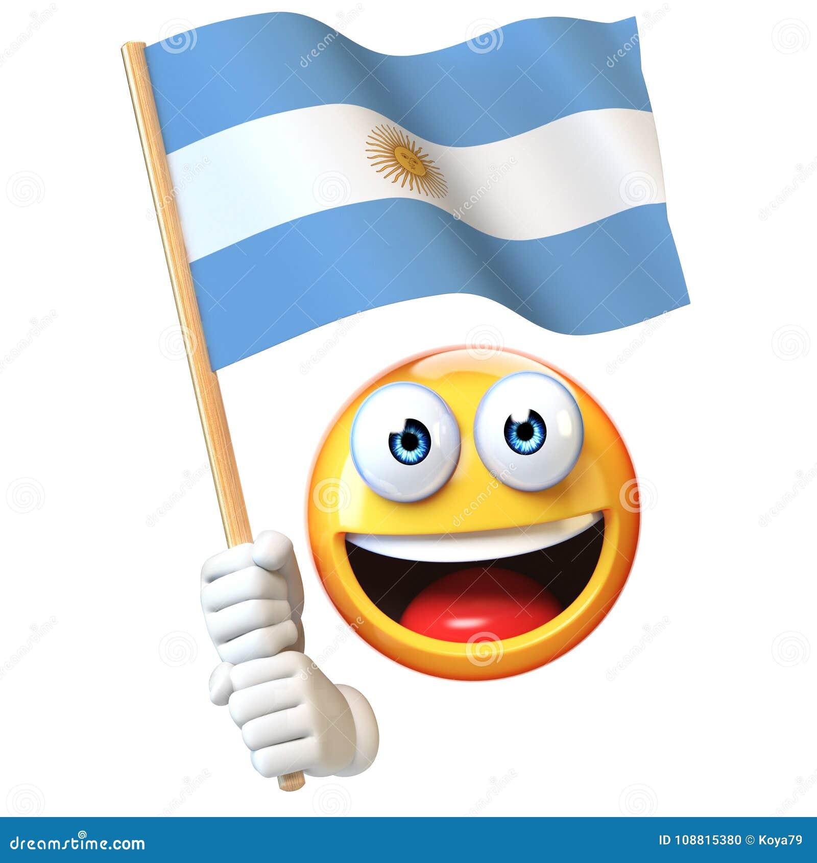 Emoji hållande argentinsk flagga, vinkande nationsflagga för emoticon av den Argentina 3d tolkningen