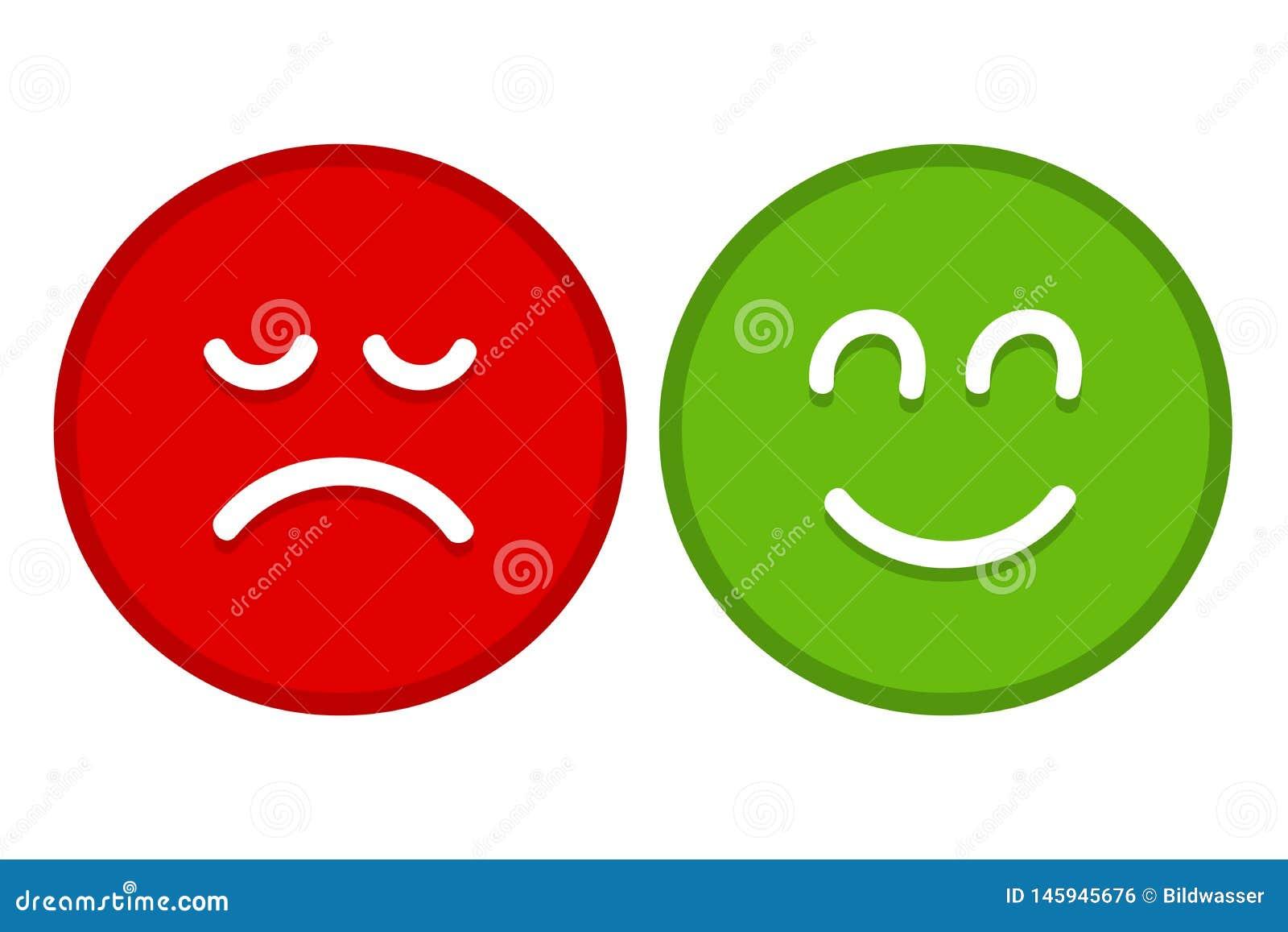 Emoji heureux et triste fait face au vecteur plat pour des applis et des sites Web