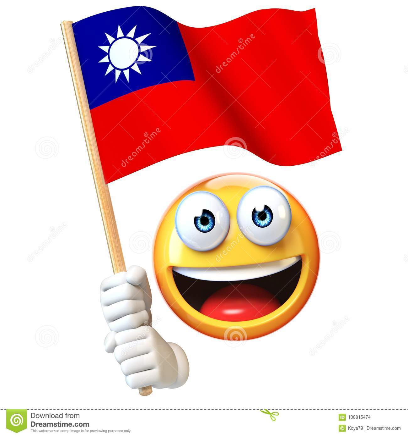 Emoji Holding Taiwan Flag, Emoticon Waving National Flag Of Taiwan