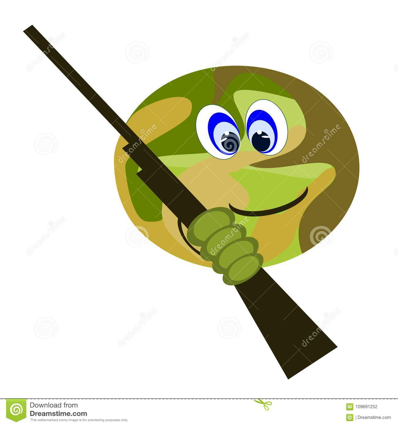 emoji hunter with camouflage face carrying gun stock vector