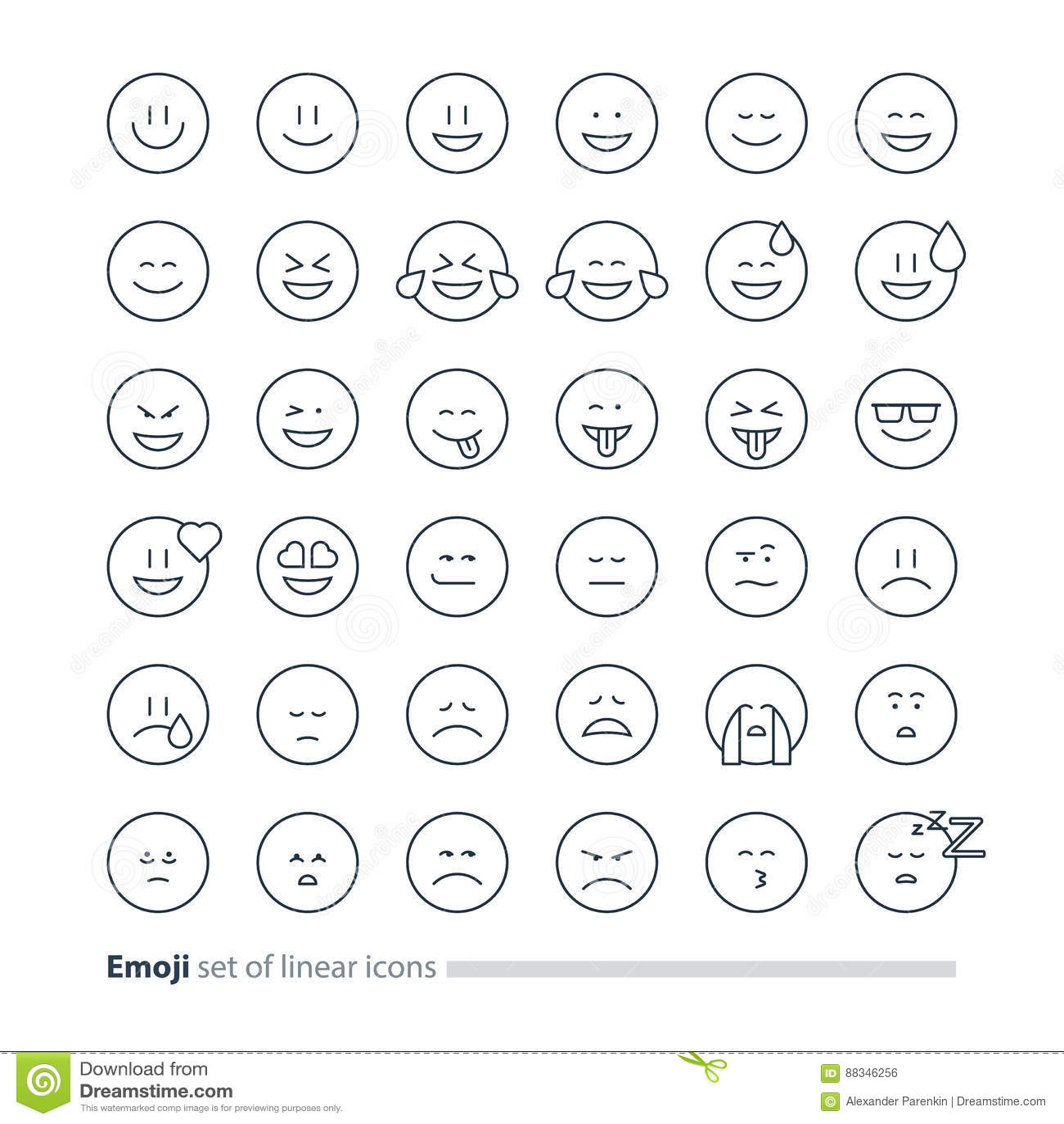 Emoji Icons Emoticon Symbols Face Expression Signs Minimalistic