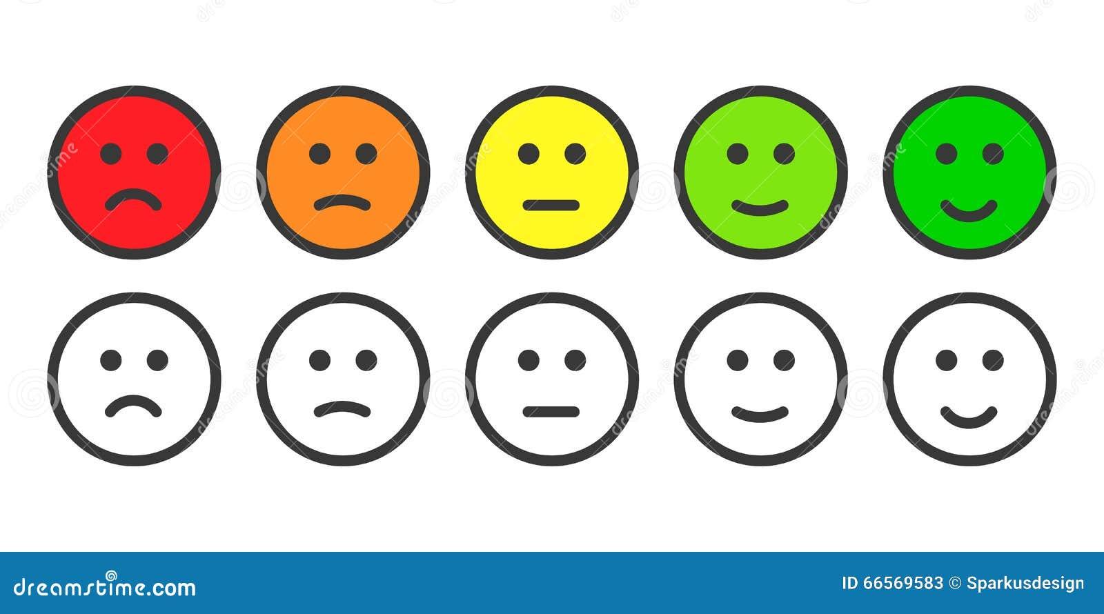 Emoji-Ikonen Für Rate Des Zufriedenheits-Niveaus Vektor Abbildung - Bild: 66569583