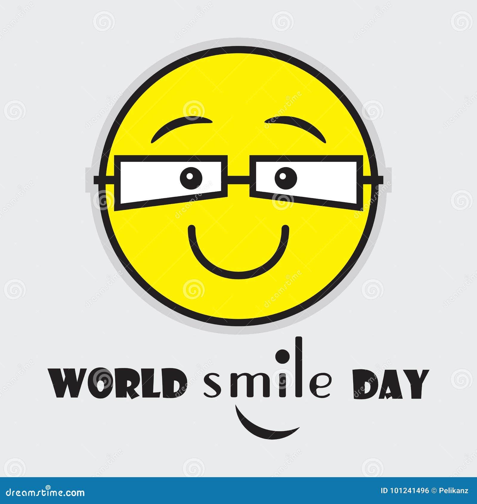 Emoji jaune mignon de jour de sourire du monde avec des verres d oeil