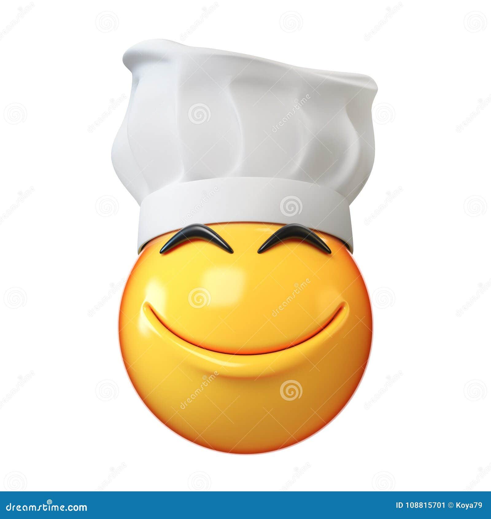 Emoji kock som isoleras på vit bakgrund, tolkning för emoticonrestaurangkock 3d