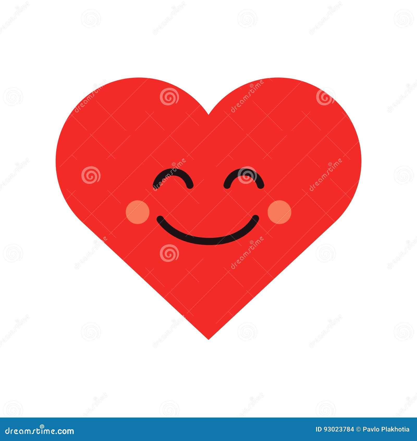 Emoji lindo del corazón Icono sonriente de la cara