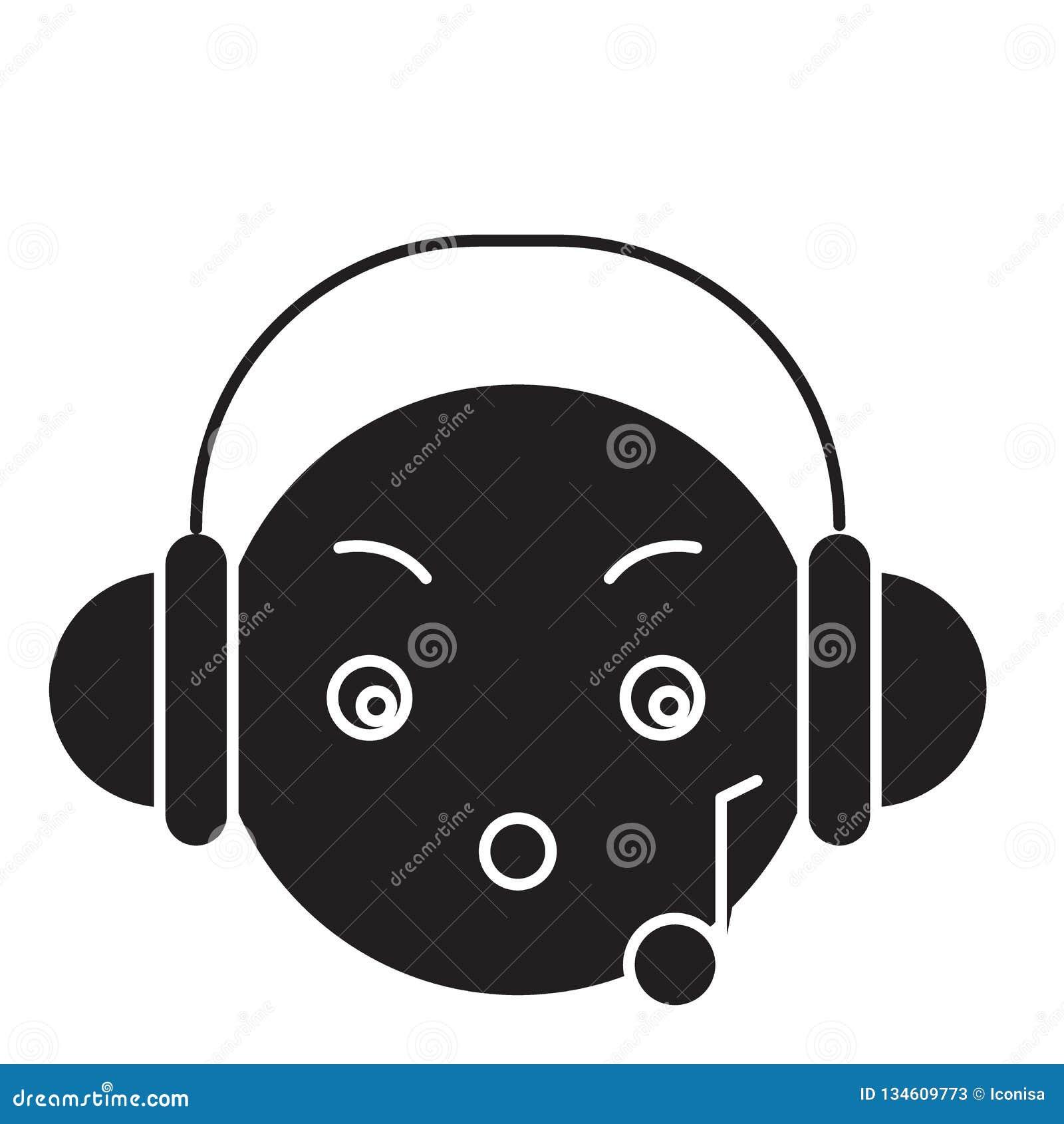 Music Listening Emoji Black Vector Concept Icon  Music