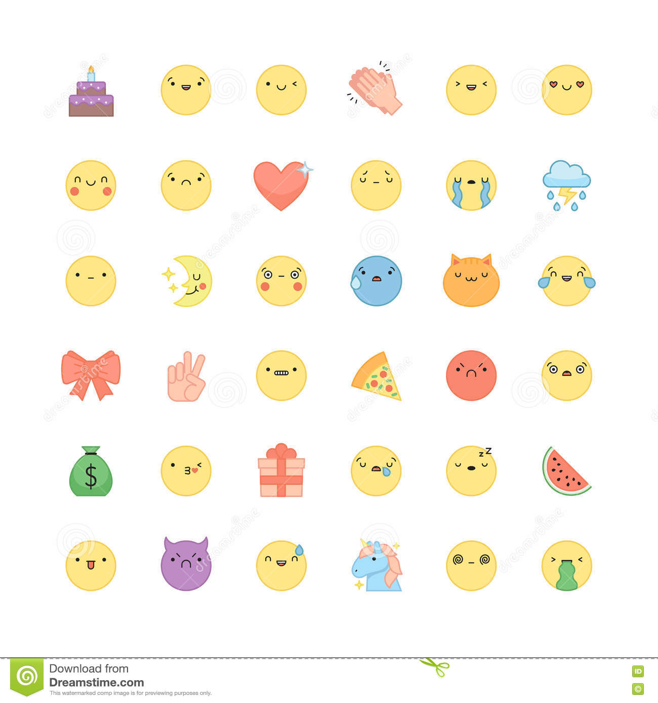 Emoji Outline Icon Vector Set Cute Emoticons And Symbols Stock