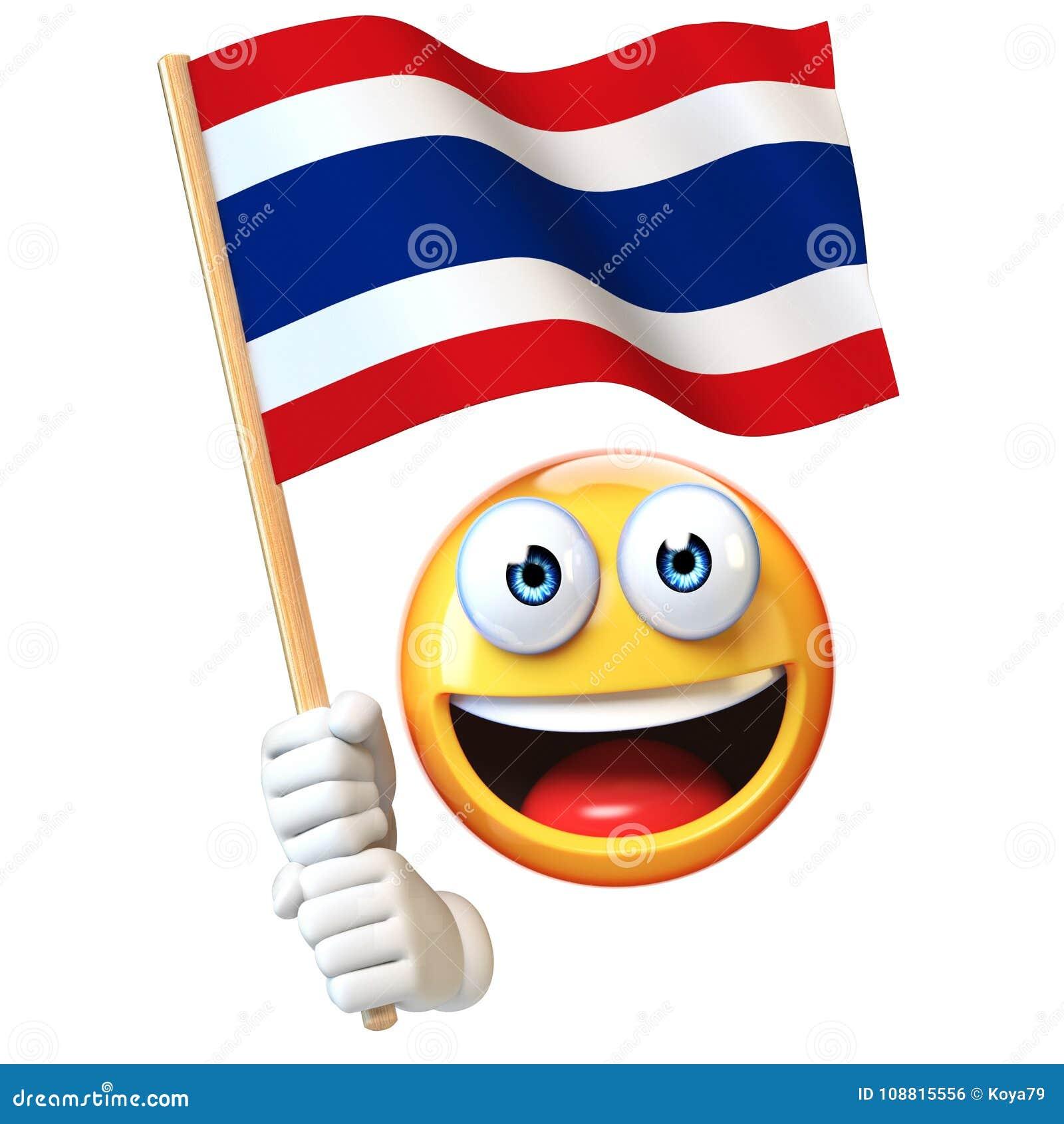 Emoji que guarda a bandeira tailandesa, emoticon que acena a bandeira nacional da rendição de Tailândia 3d