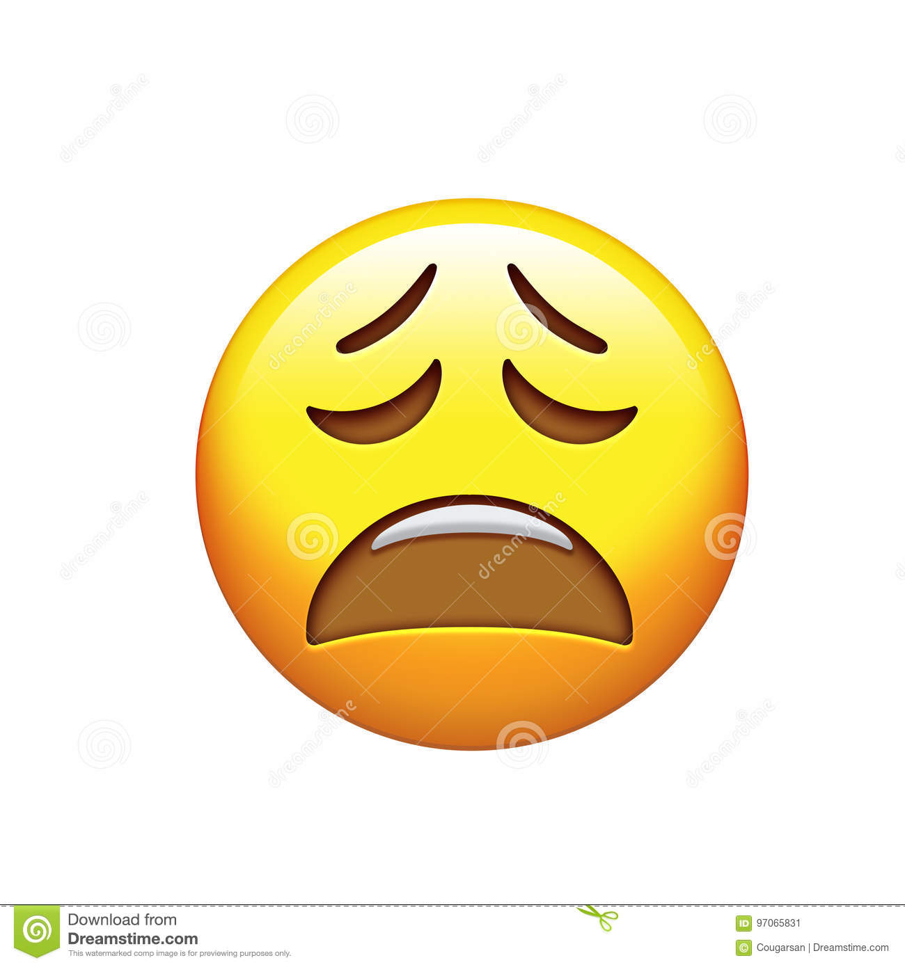 Emoji sad unhappy and feeling depressed yellow face icon