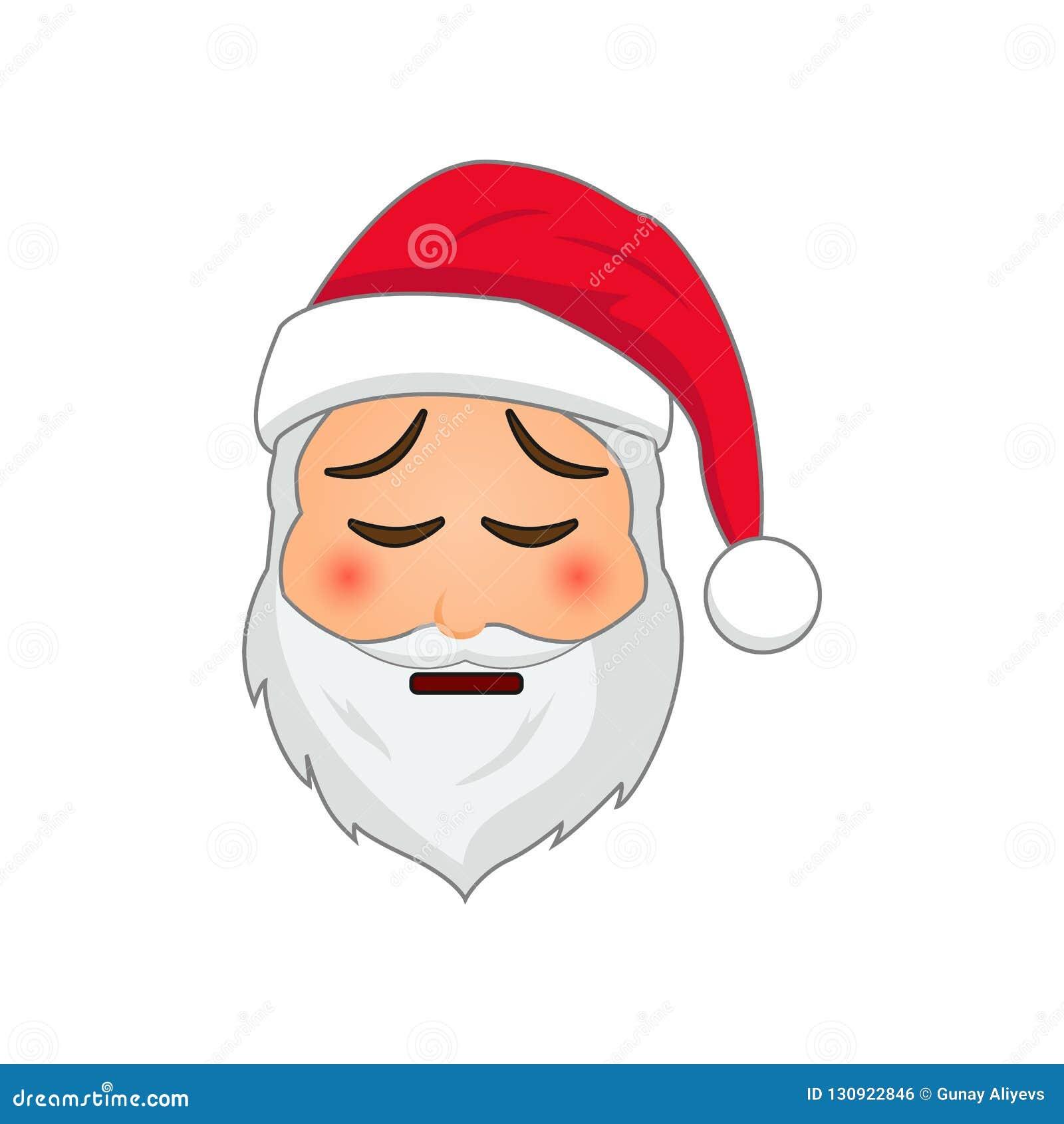 Emoji Santa Claus Emoticon de las vacaciones de invierno Papá Noel en icono cansado del emoji