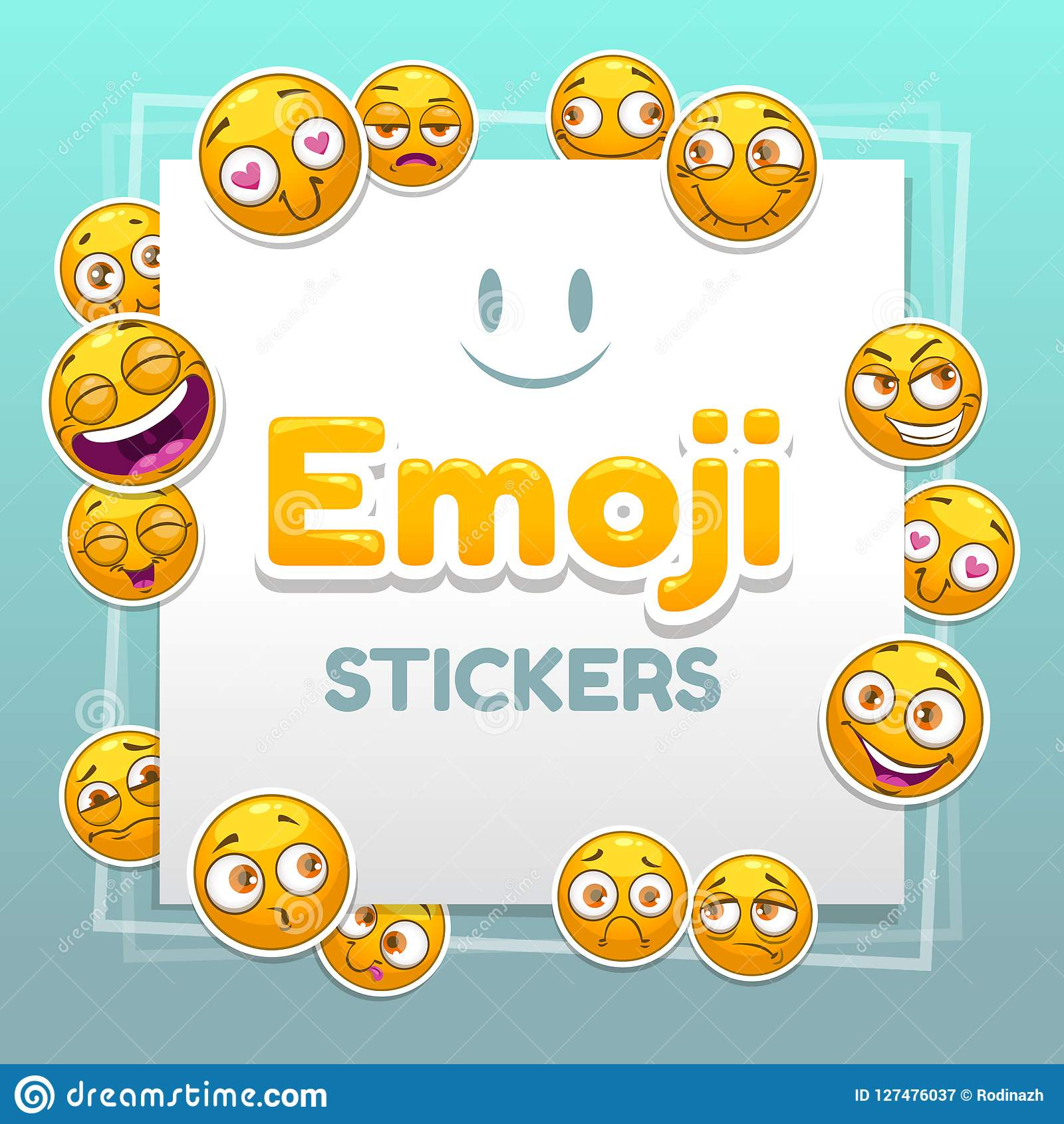 Emoji Stickers Background  Abstract Background With Funny Smiley