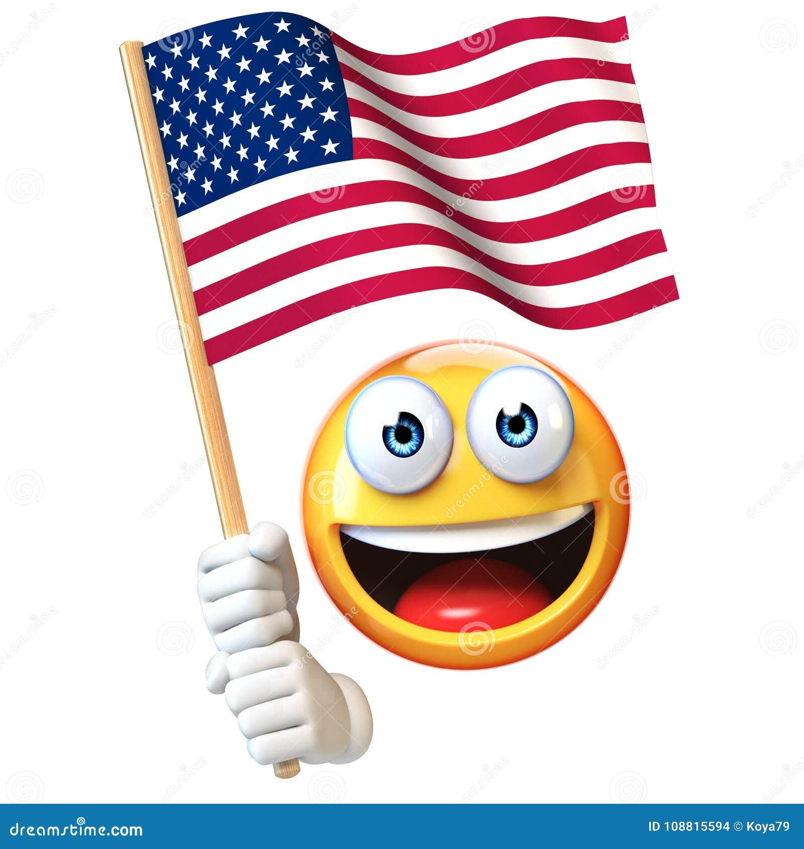 Emoji tenant le drapeau des USA, émoticône ondulant le rendu du drapeau national 3d des Etats-Unis d Amérique