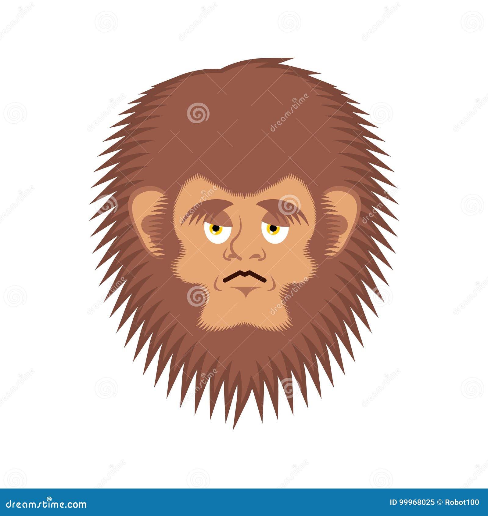 Emoji triste de Bigfoot Visage wailful d émotion de yeti Bonhomme de neige abominable