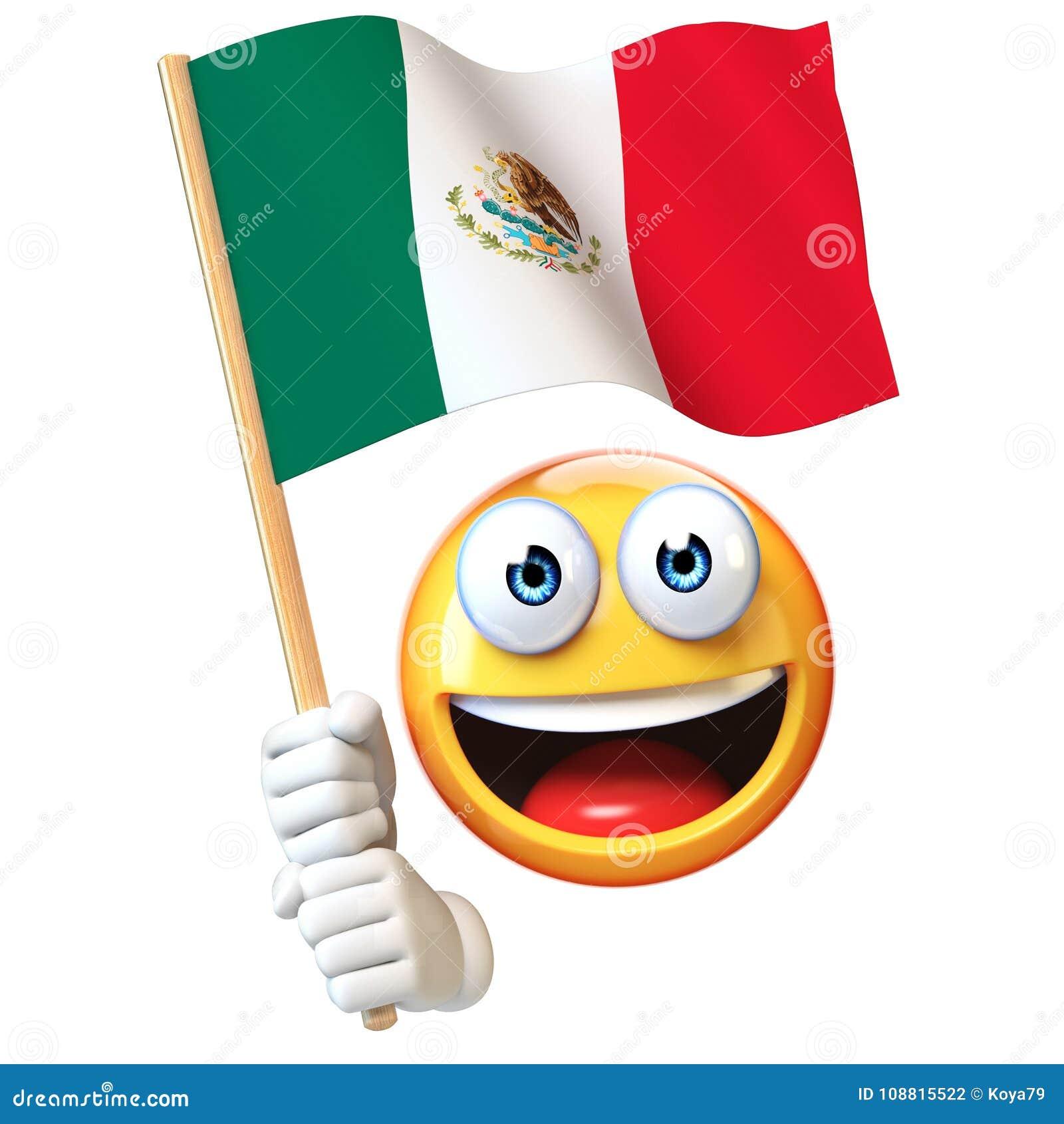 Emoji trzyma Meksykańską flaga, emoticon falowania Meksyk 3d rendering flaga państowowa