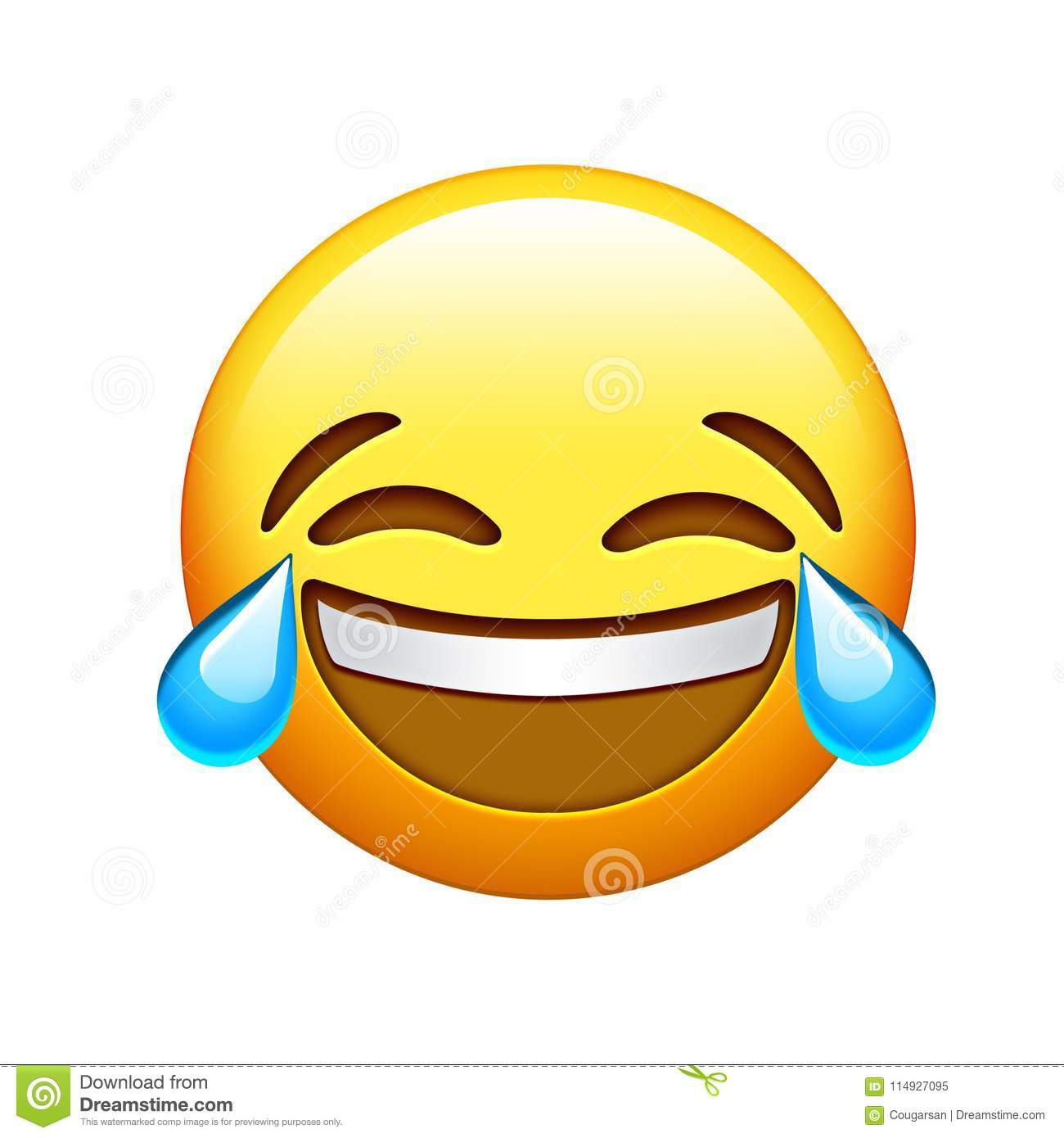 Download Emoji Yellow Face Lol Laugh And Crying Tear Icon Stock Illustration