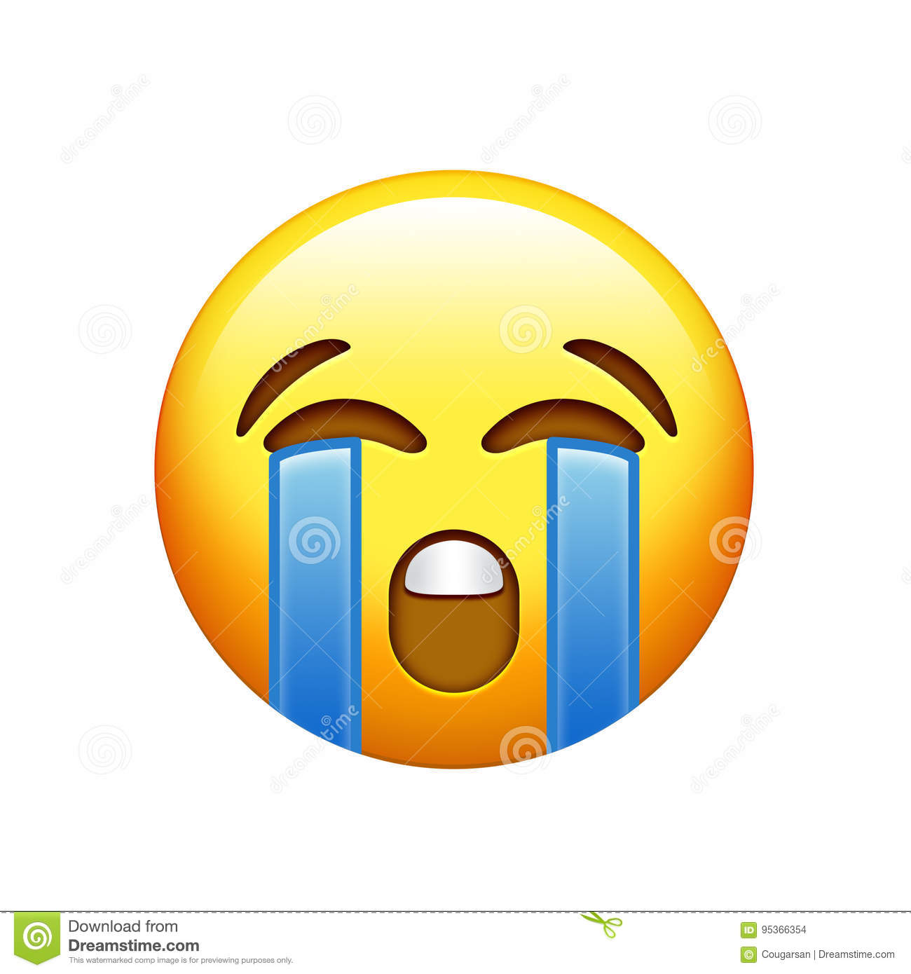 emoji yellow sad face with crying tear icon stock illustration
