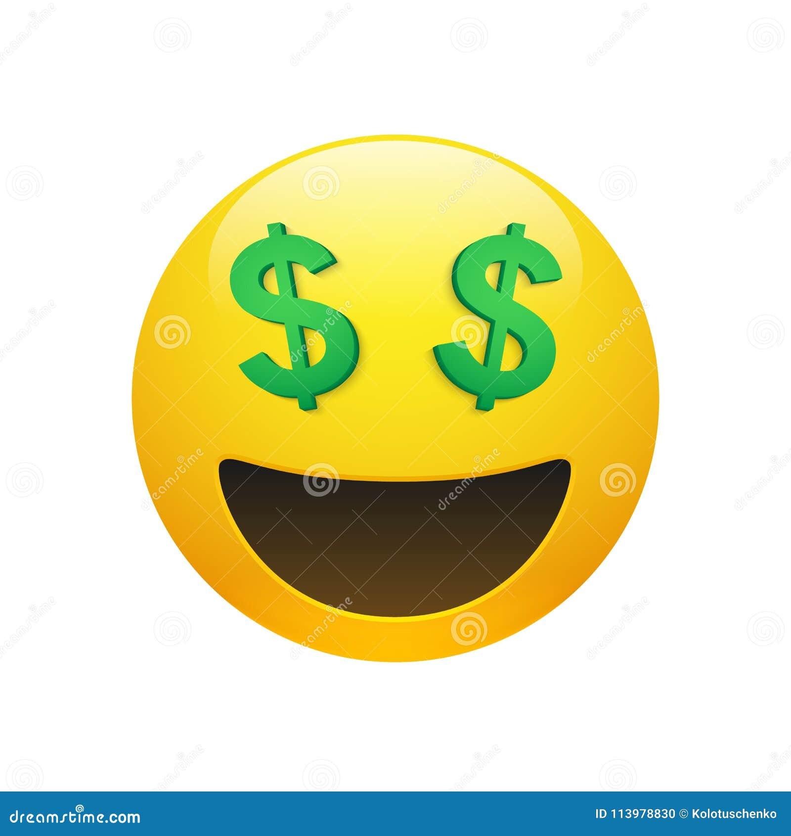Emoji Yellow Smiley Face With Dollar Symbol Eyes Stock Vector