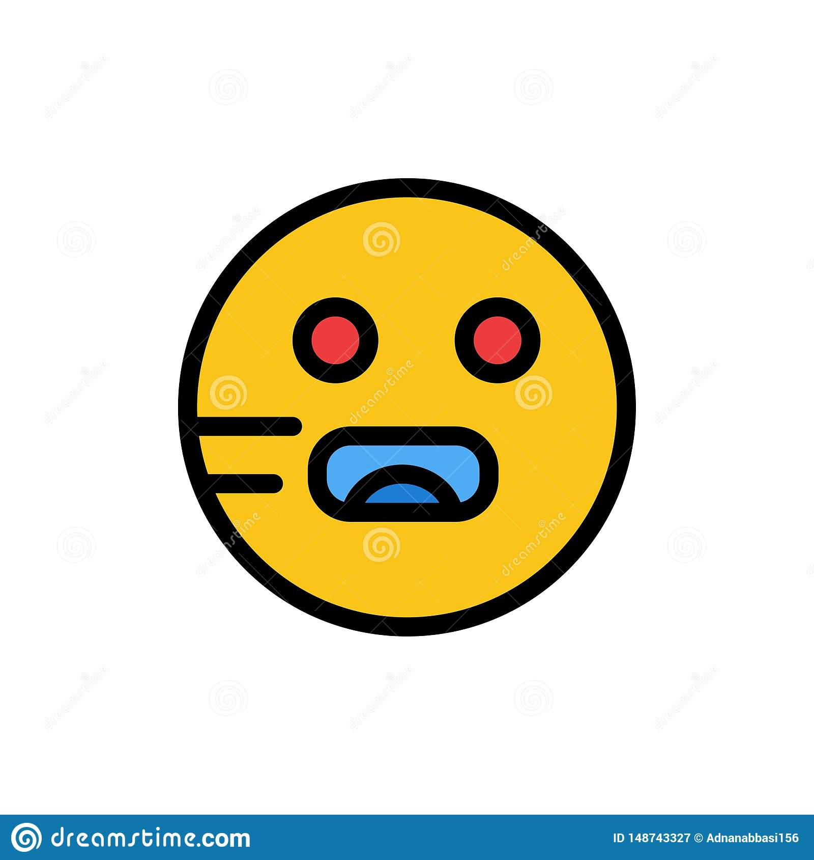 Emojis, Emoticon, hambriento, icono plano del color de la escuela Plantilla de la bandera del icono del vector